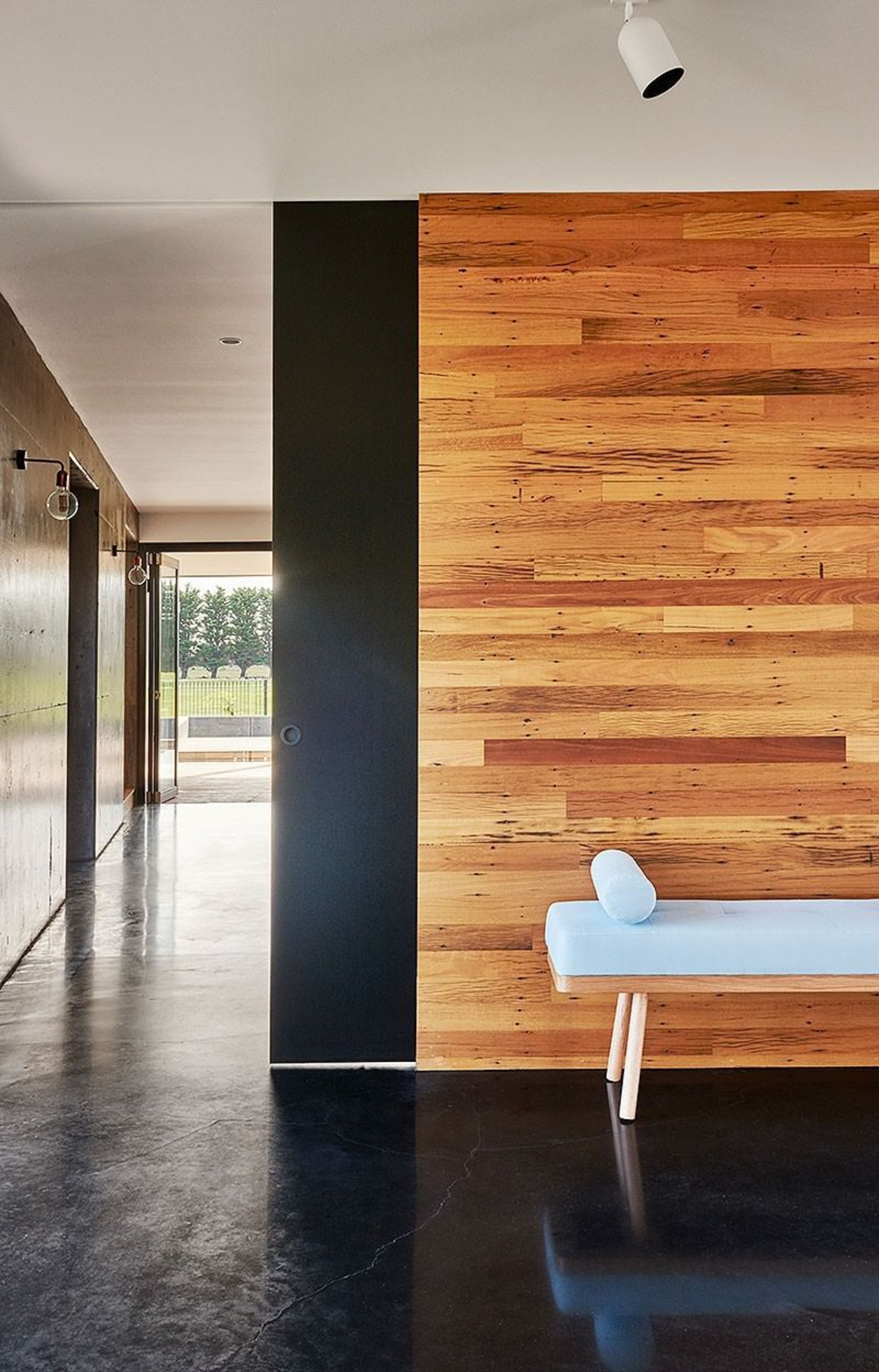 Timber plays of nicely against this black floor architecture, ceiling, daylighting, floor, flooring, hardwood, home, house, interior design, laminate flooring, wall, wood, wood flooring, gray, black