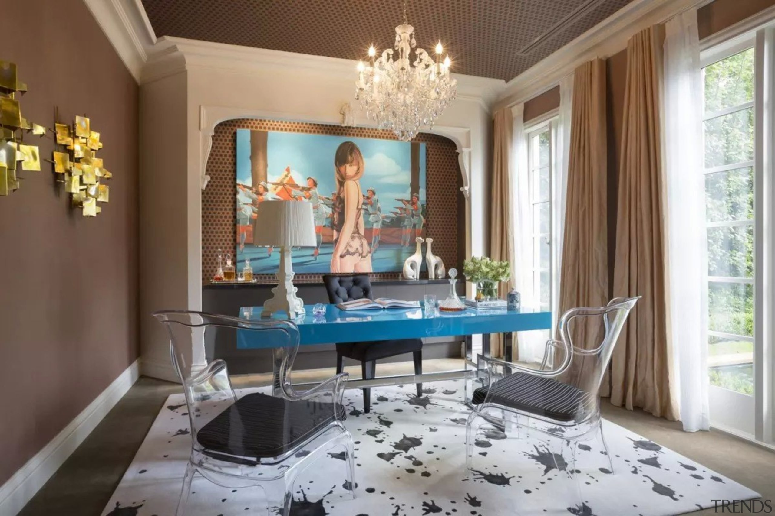 French classic-style residence by Massimo Interiors ceiling, dining room, furniture, home, interior design, living room, room, table, wall, brown