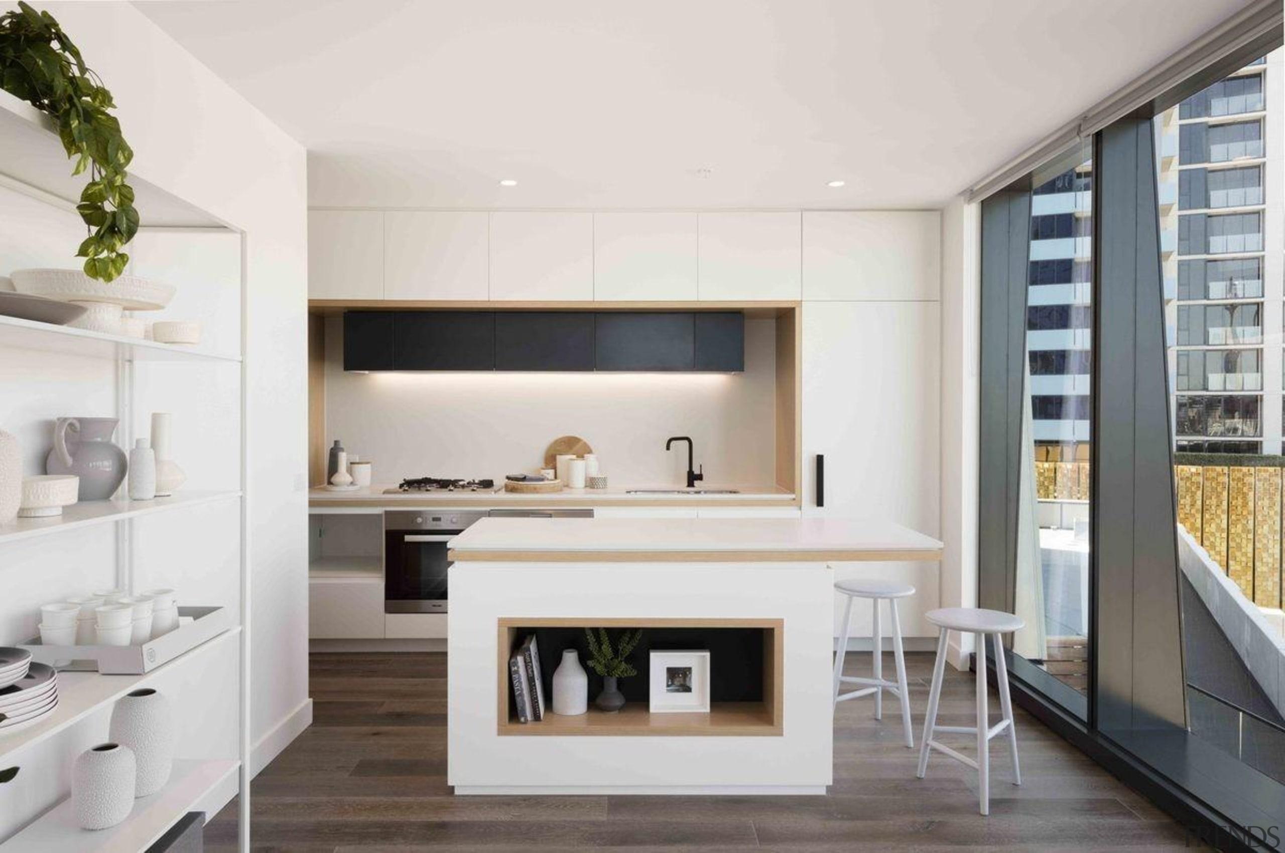 Promenade Aqui by Woods Bagot - Promenade Aqui interior design, kitchen, living room, white