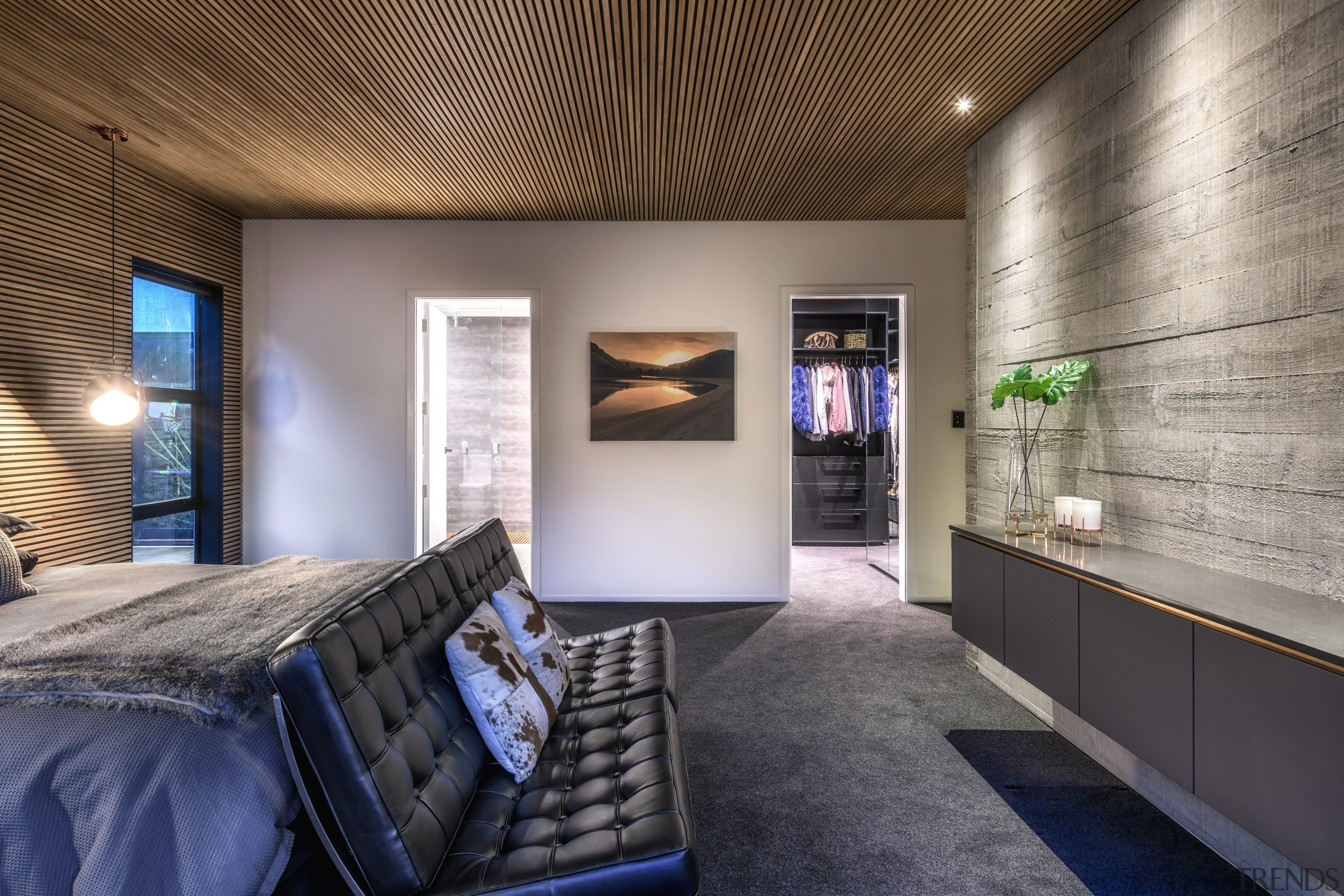 ​​​​​​​This home's concrete tilt-slab construction continues into the architecture, interior design, bedroom, master suite, Kirsty Davis, timber batten ceiling