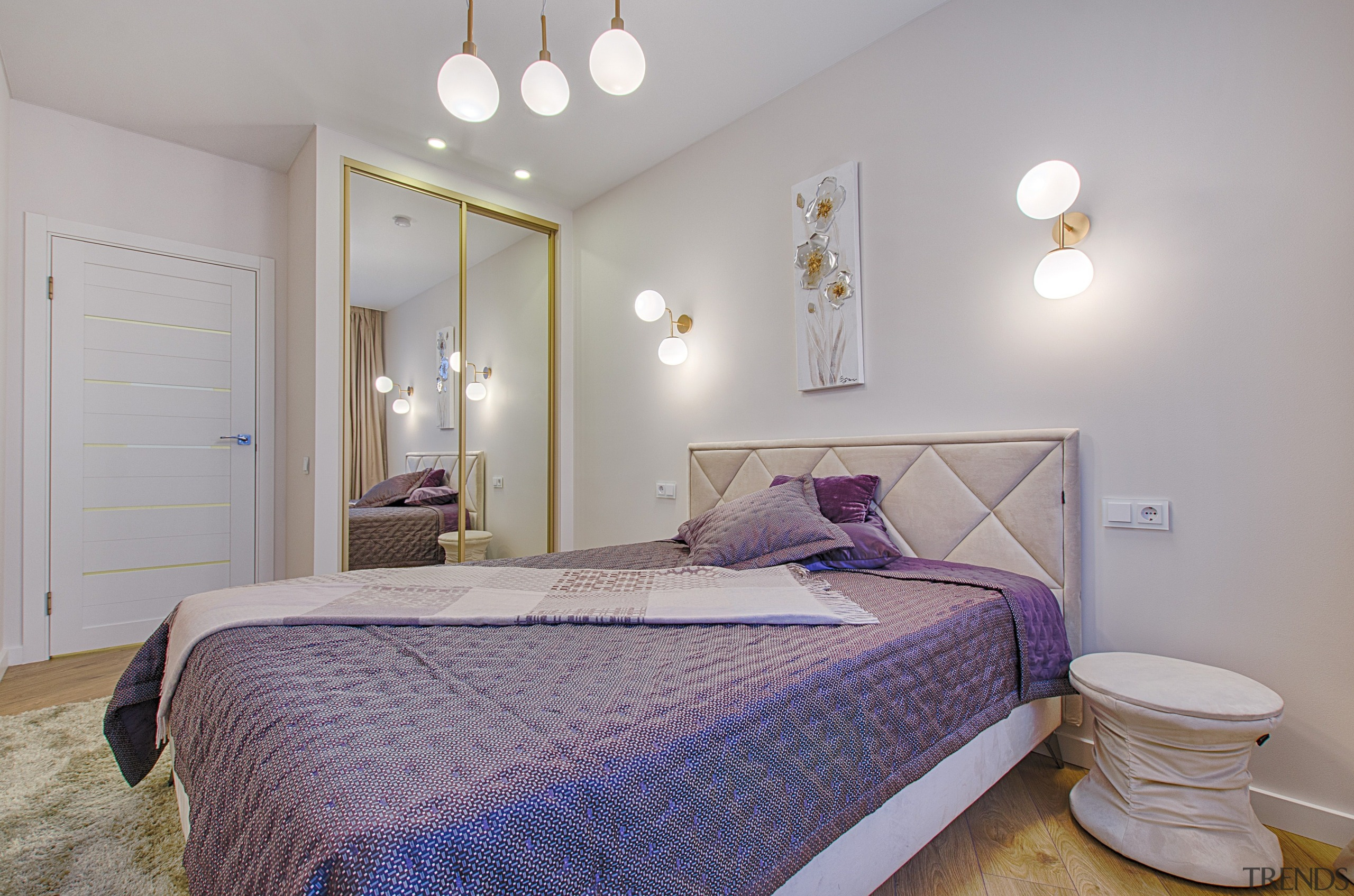 A floor length mirror hung vertically is not architecture, bed, bed frame, bed sheet, bedding, bedroom, building, ceiling, duvet cover, floor, furniture, hardwood, home, house, interior design, mattress, mattress pad, nightstand, property, purple, real estate, room, wall, gray