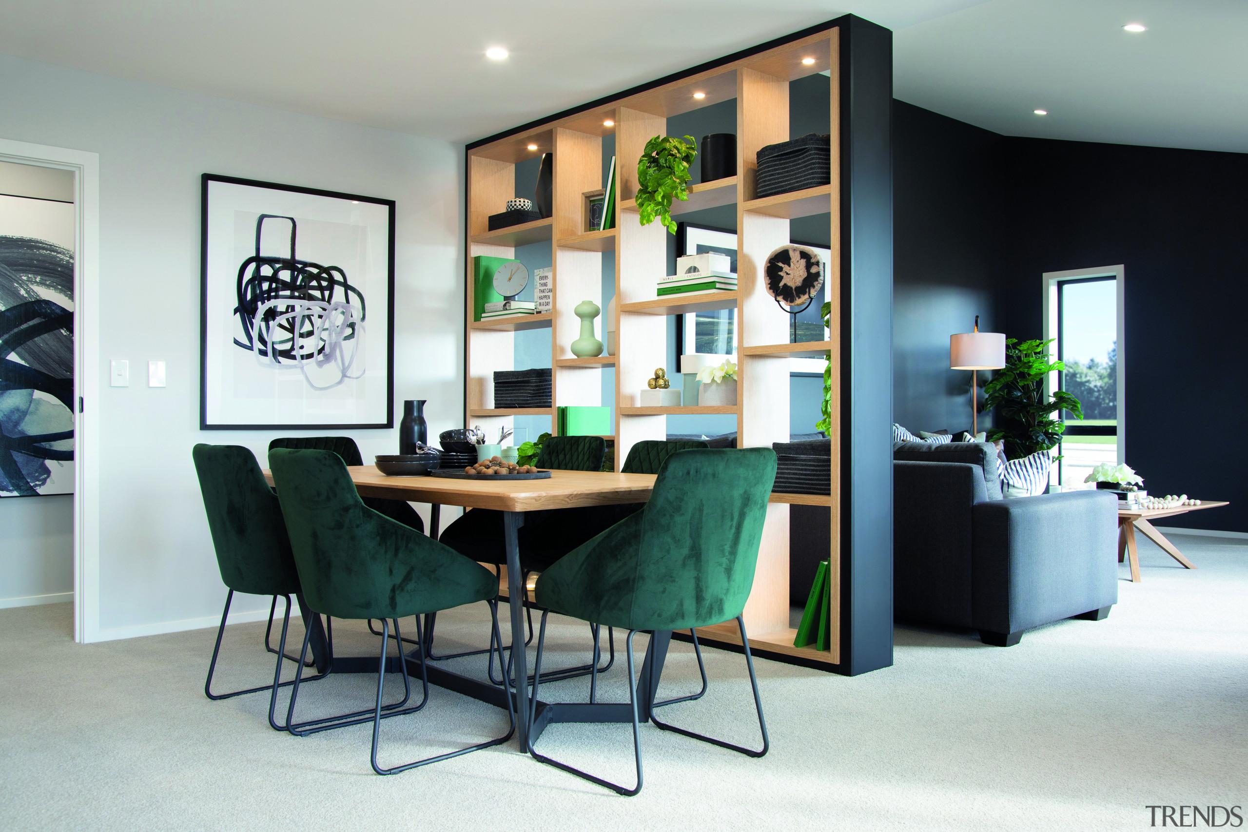 In this new Rotokauri Rise showhome by GJ design, dining room, floor, flooring, furniture, green, home, house, interior design, living room, dining , table, Resene, GJ Gardner