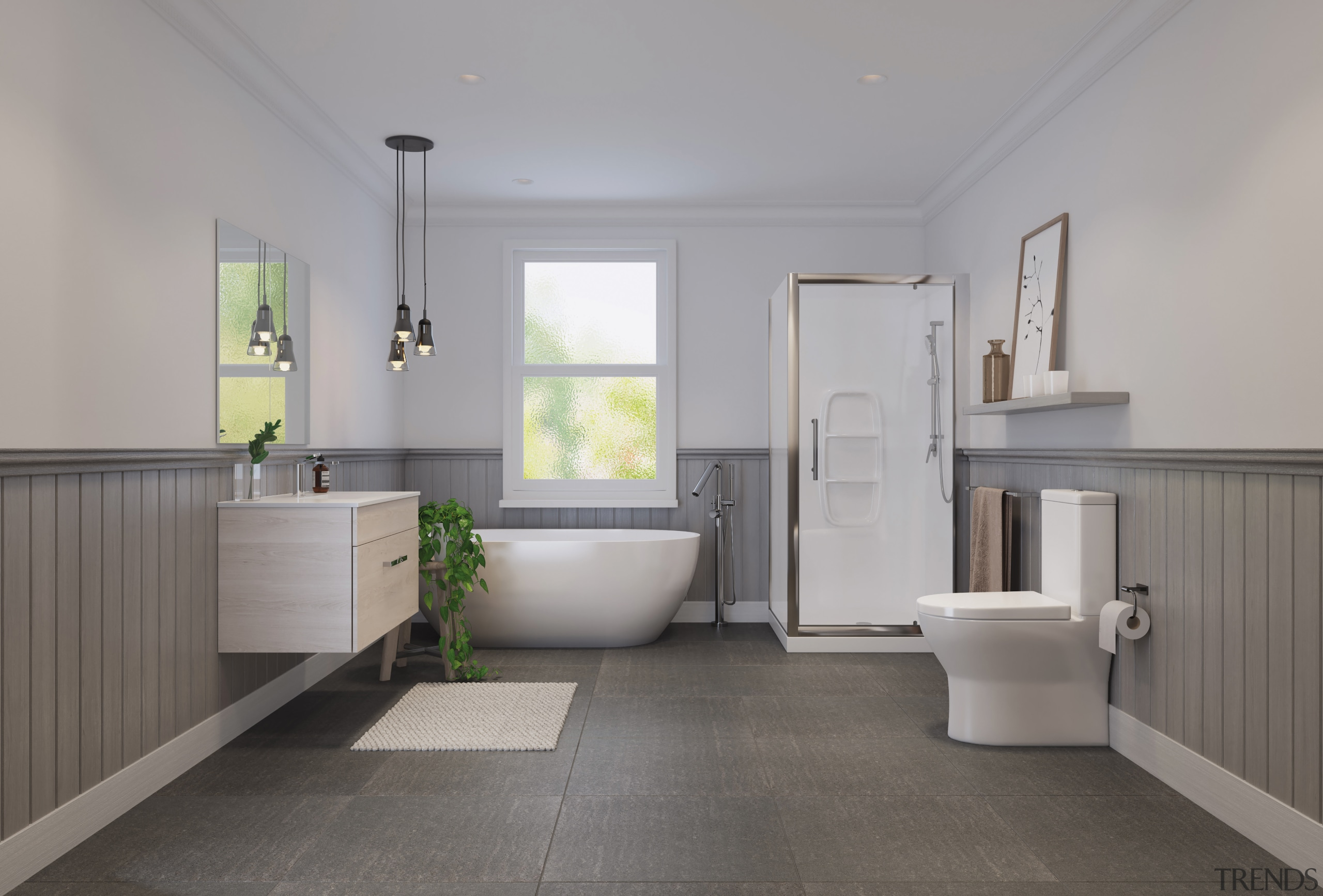 Bathroom by LeVivi - architecture | bathroom | architecture, bathroom, daylighting, floor, flooring, home, interior design, plumbing fixture, real estate, room, sink, tile, gray