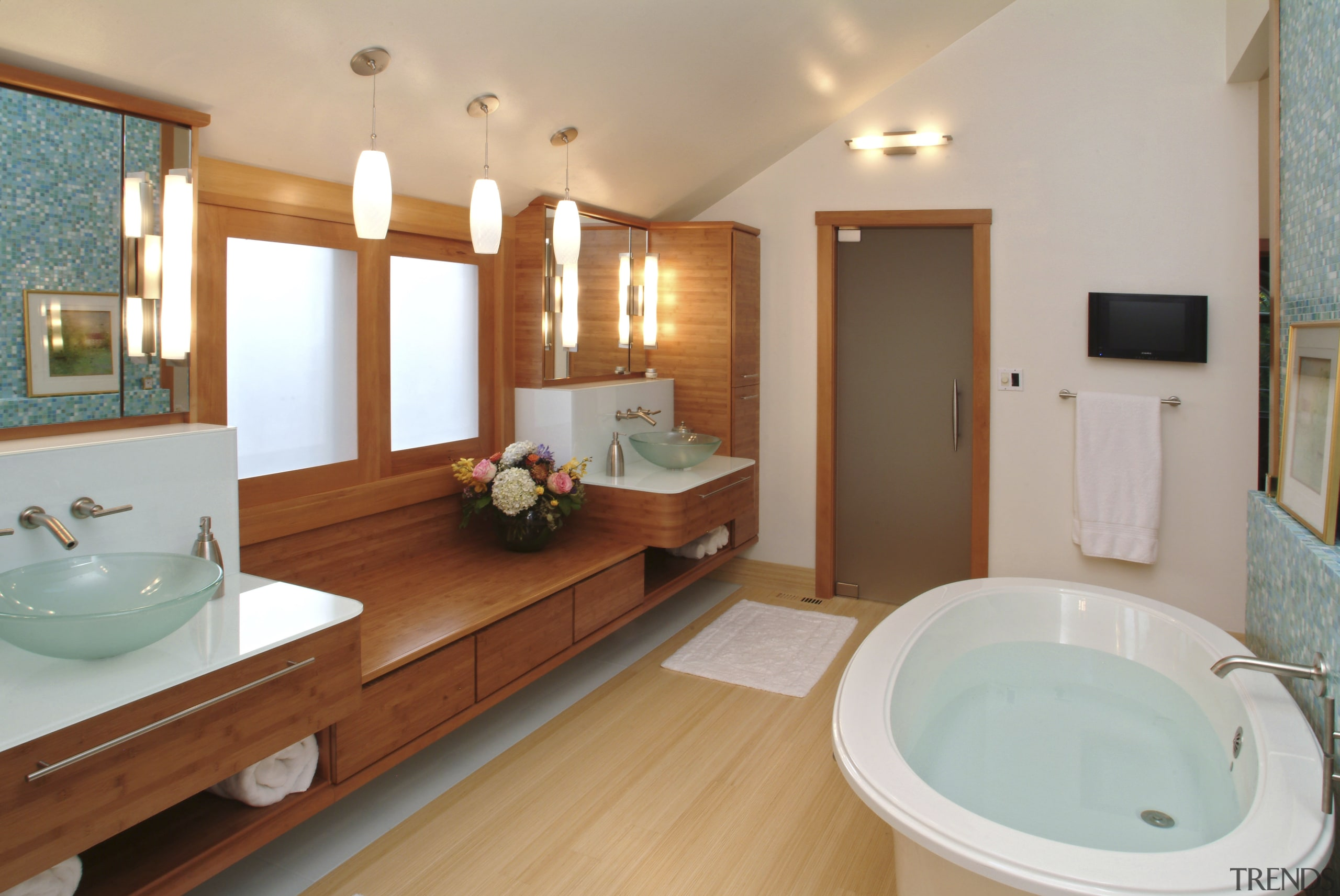 Image of a bathroom designed by an NKBA bathroom, estate, home, real estate, room, suite, gray, brown