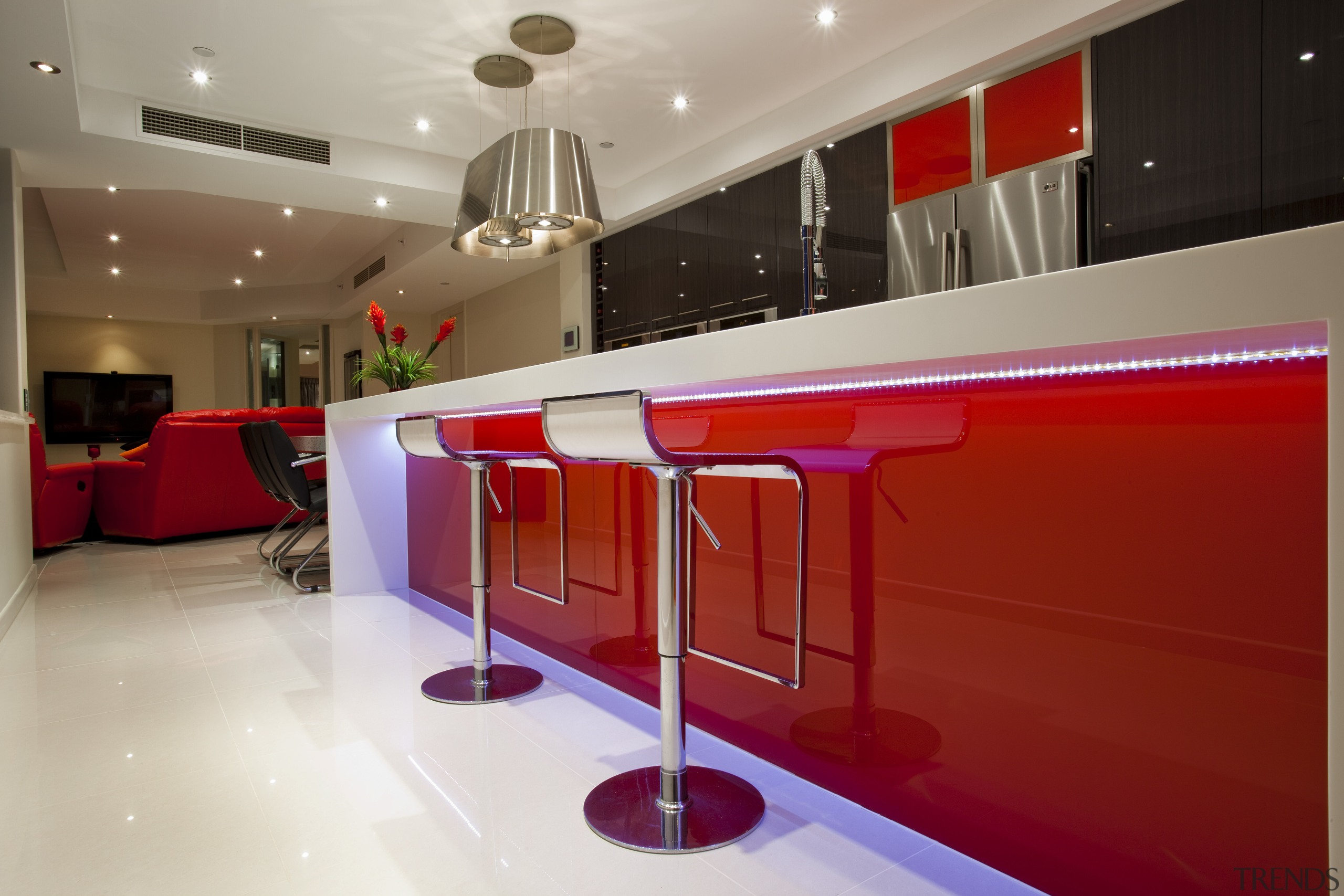 Kitchen Connection Gold Coast created a high-impact, low-maintenance architecture, ceiling, countertop, floor, flooring, interior design, kitchen, lighting, product design, red, gray