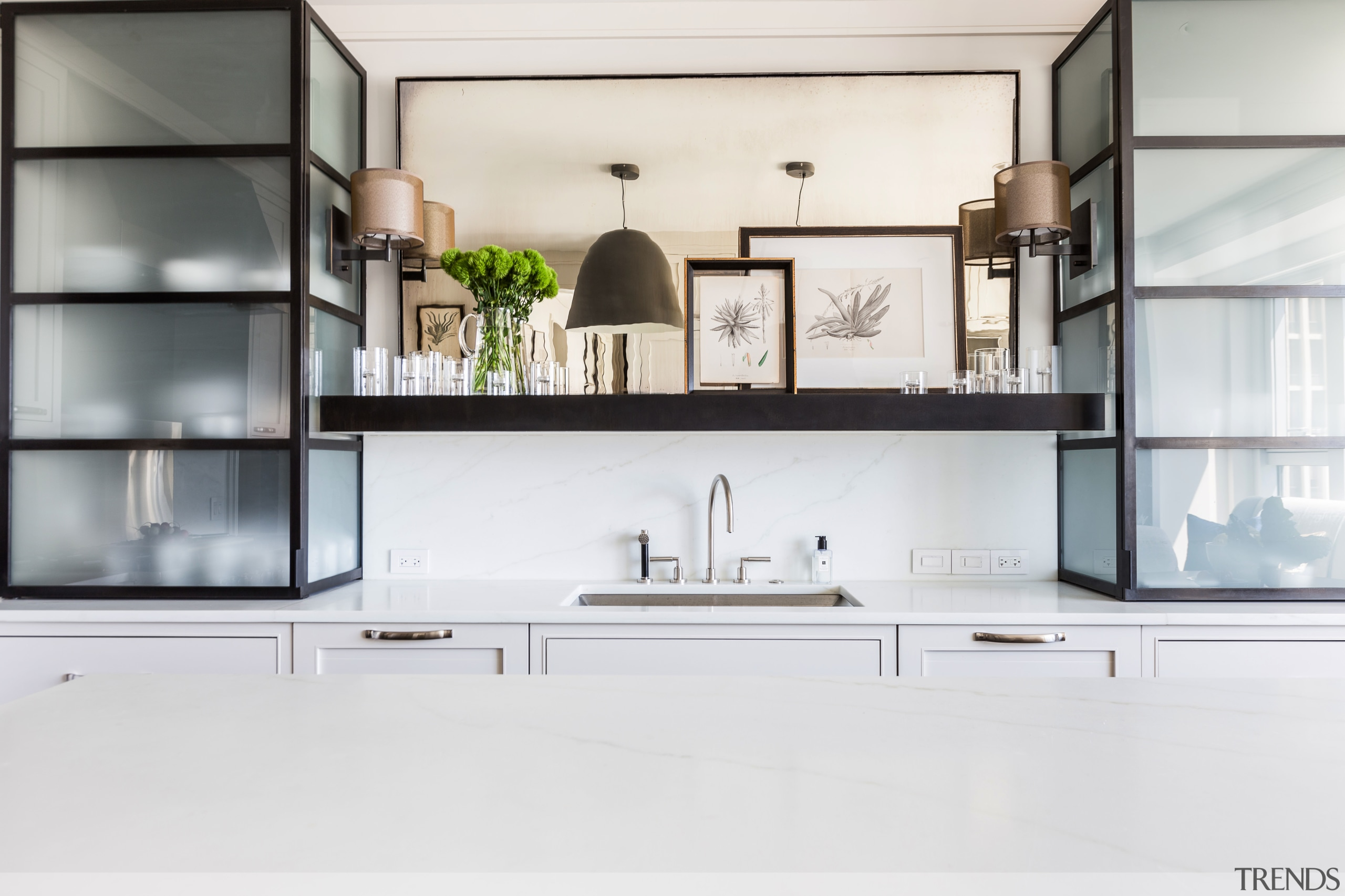 Translucent glass and steel cabinets evoke Chicagos skyscrapers countertop, cuisine classique, furniture, interior design, kitchen, product design, shelf, shelving, white