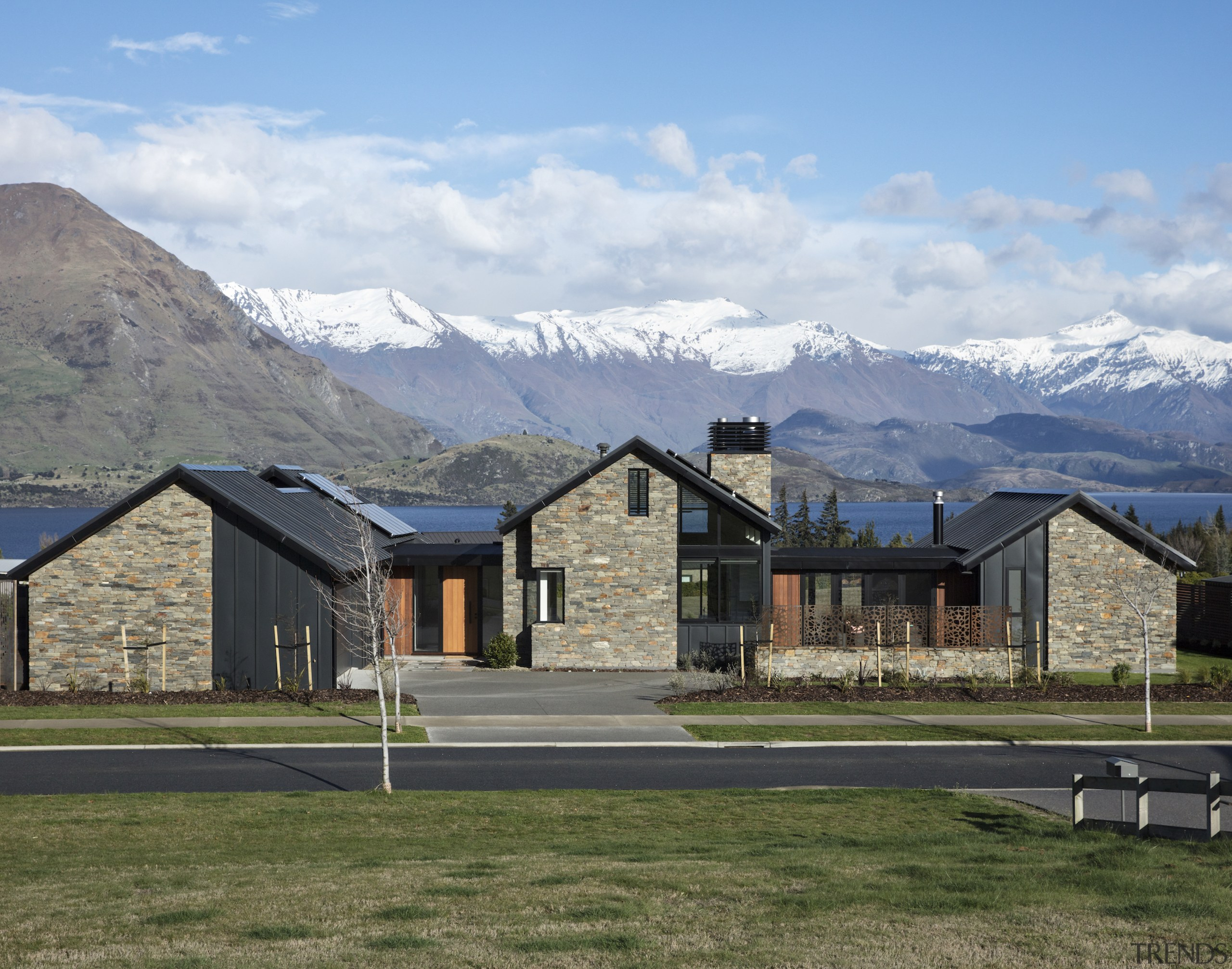Runner-up – Condon Scott Architects – TIDA New alps, cloud, cottage, elevation, estate, farmhouse, fell, grass, highland, home, house, land lot, landscape, log cabin, mountain, mountain range, mountainous landforms, property, ranch, real estate, residential area, rural area, sky, suburb, winter, gray