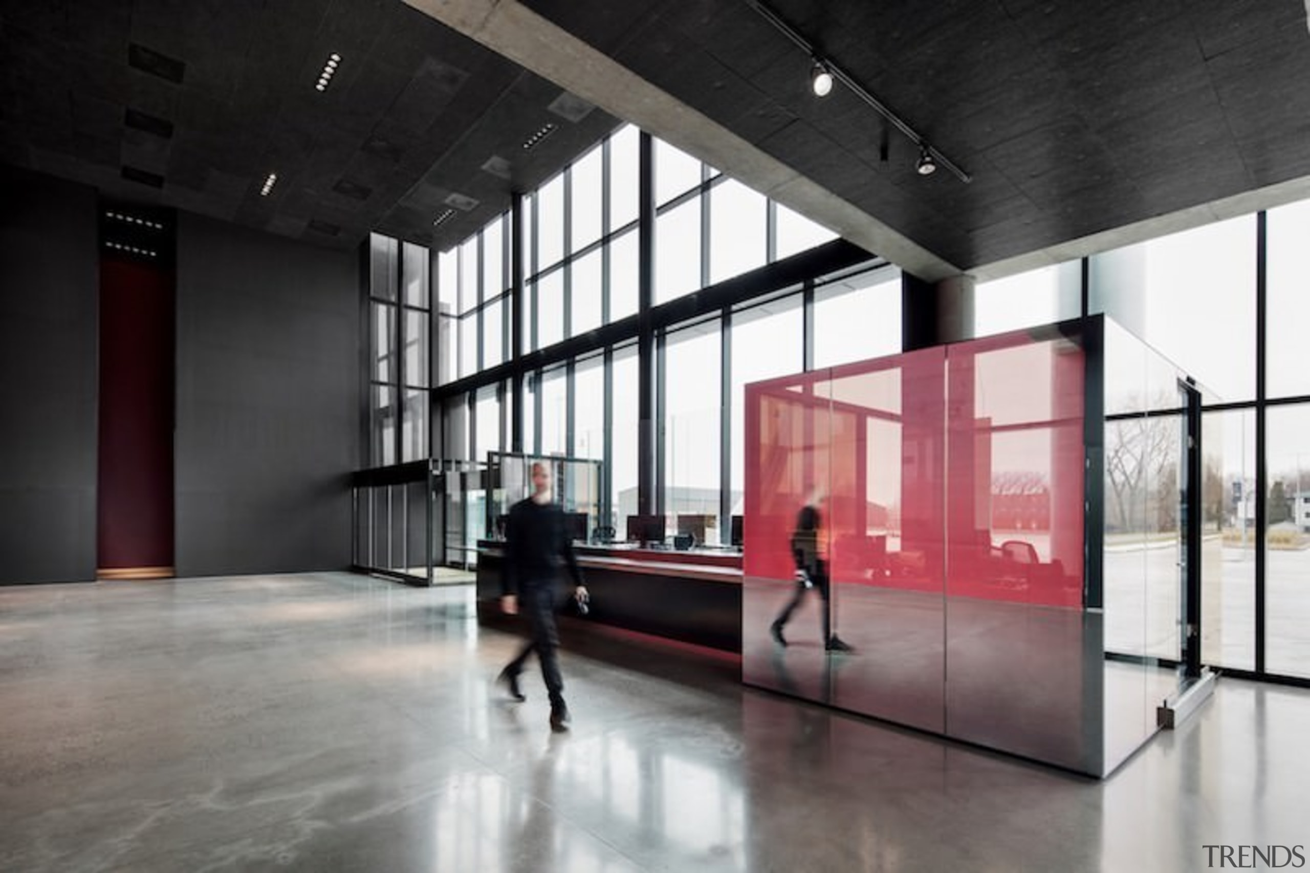 Large windows flood the foyer with light - architecture, floor, interior design, lobby, tourist attraction, black, gray
