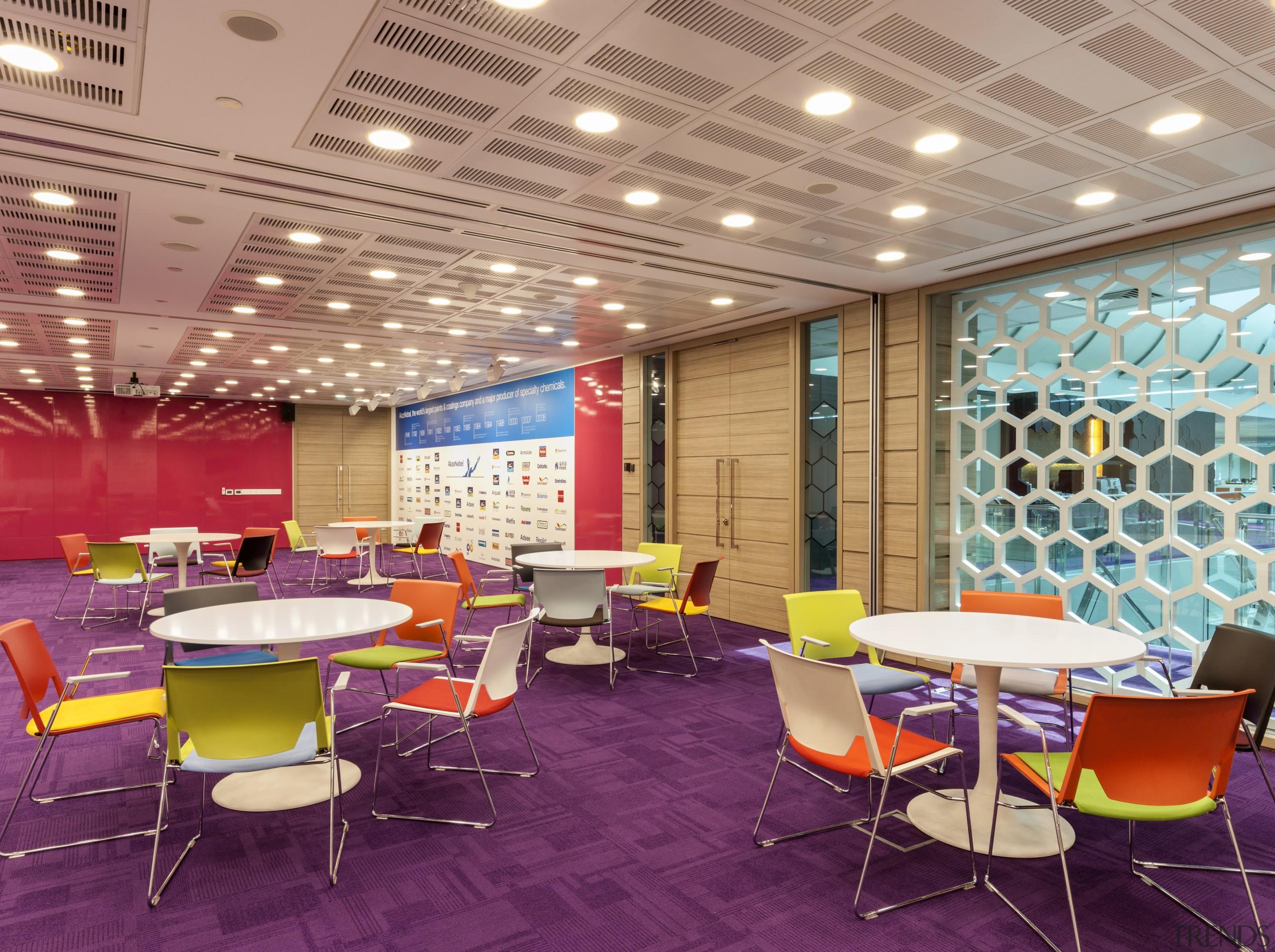 AkzoNobel House (Singapore) Interior design - AkzoNobel House cafeteria, ceiling, conference hall, function hall, furniture, interior design, lobby, office, table, orange