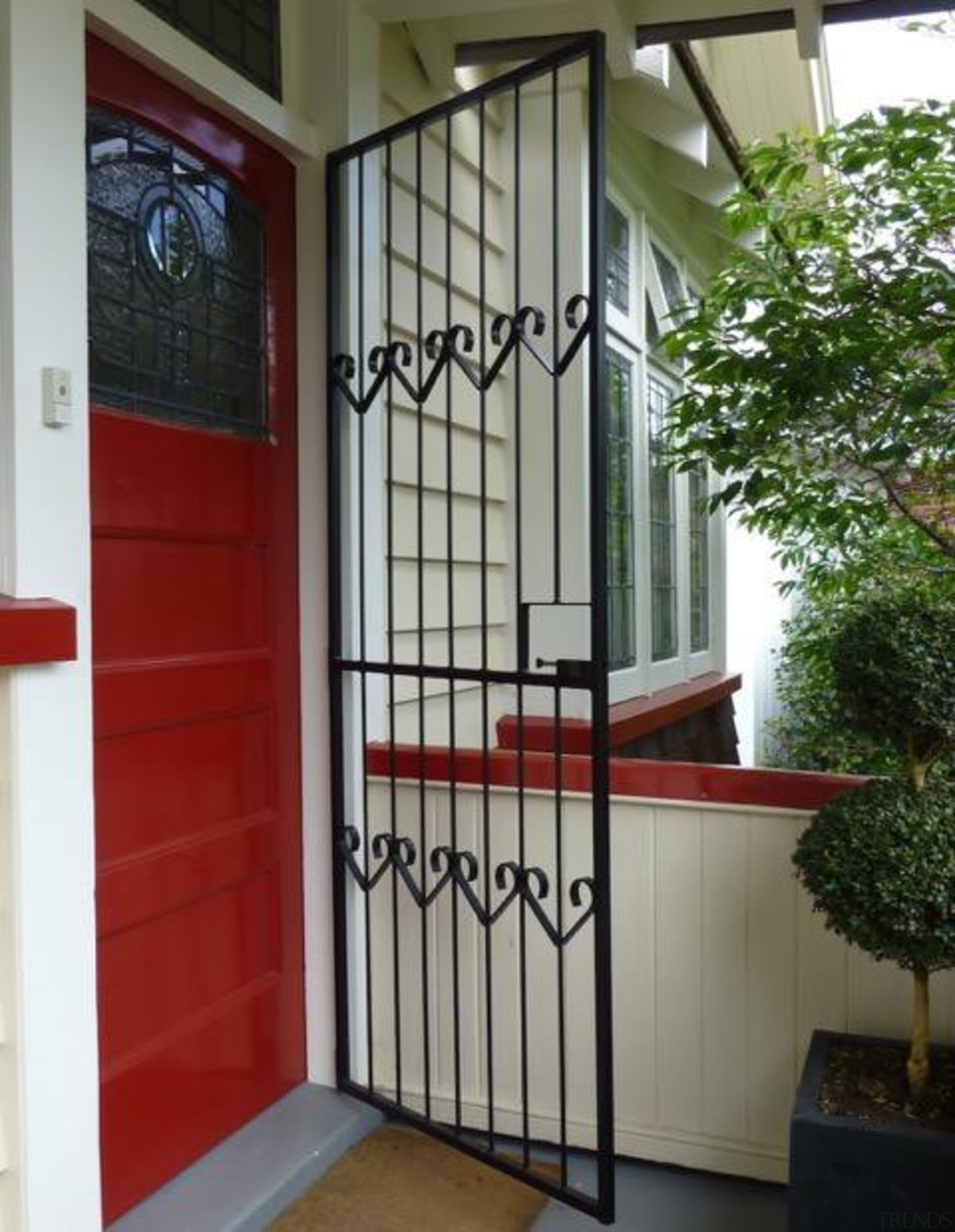 black gloss lucy cropped  mt eden.jpeg - door, facade, gate, handrail, iron, property, real estate, stairs, structure, gray