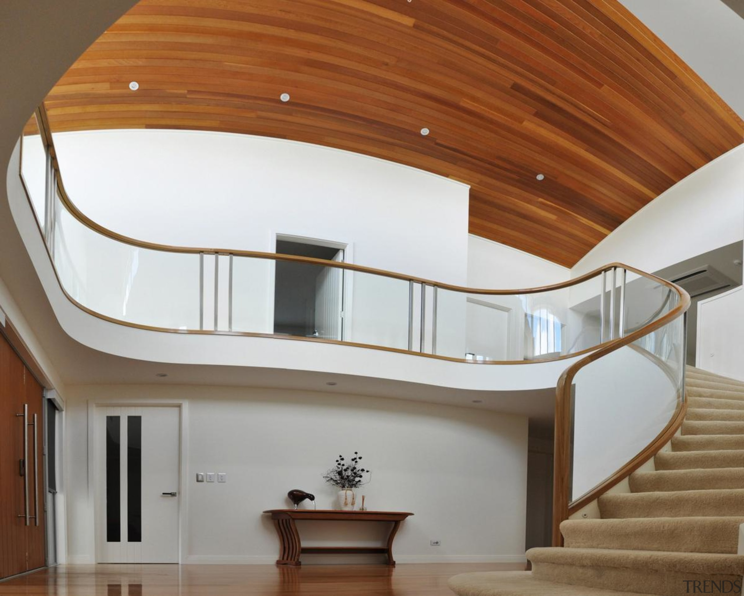 Fowler Homes 2 - architecture   ceiling   architecture, ceiling, daylighting, handrail, home, house, interior design, property, stairs, brown, gray