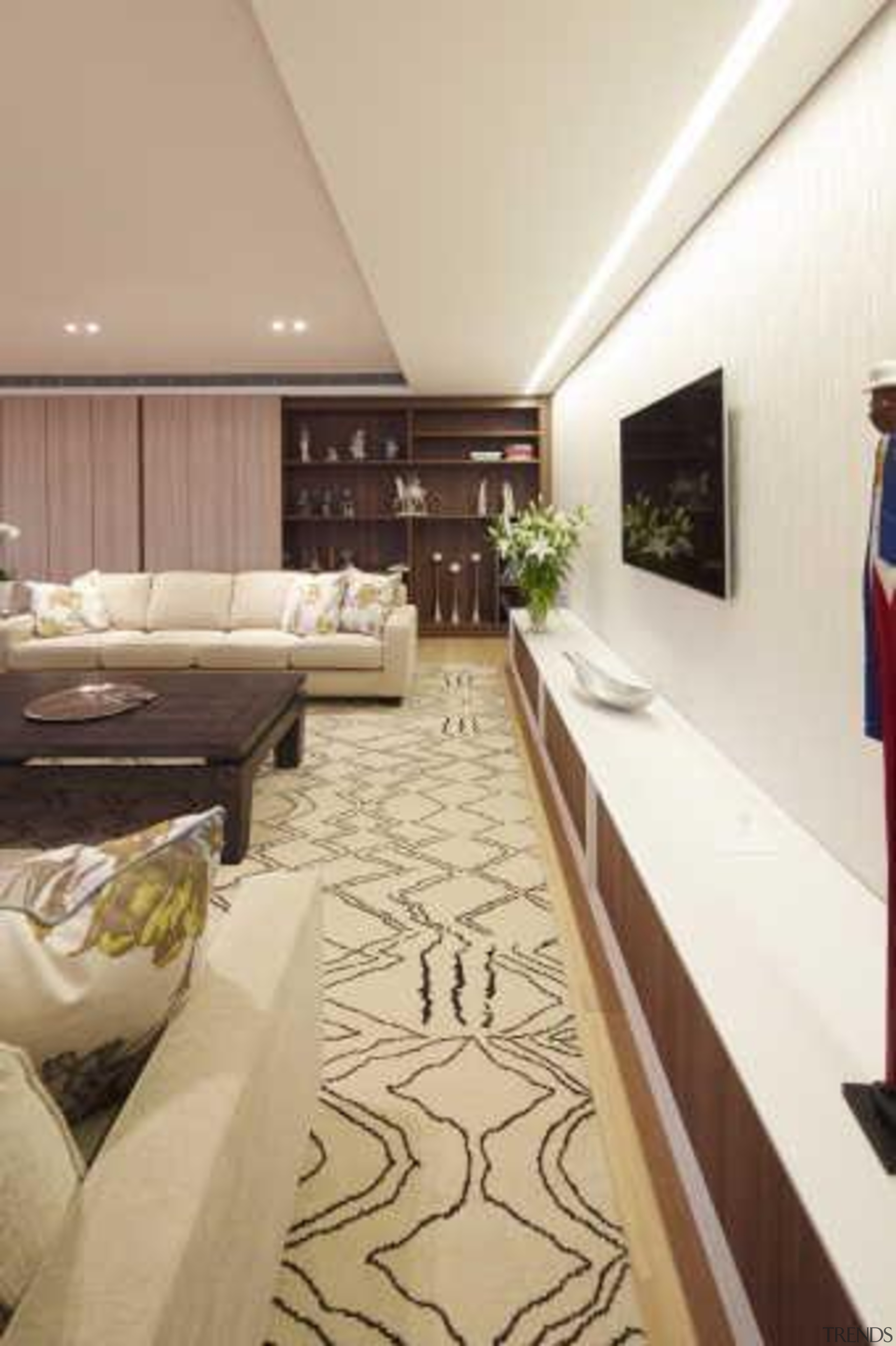 In this contemporary apartment renovation, woodgrain surfaces from ceiling, floor, flooring, interior design, room, white