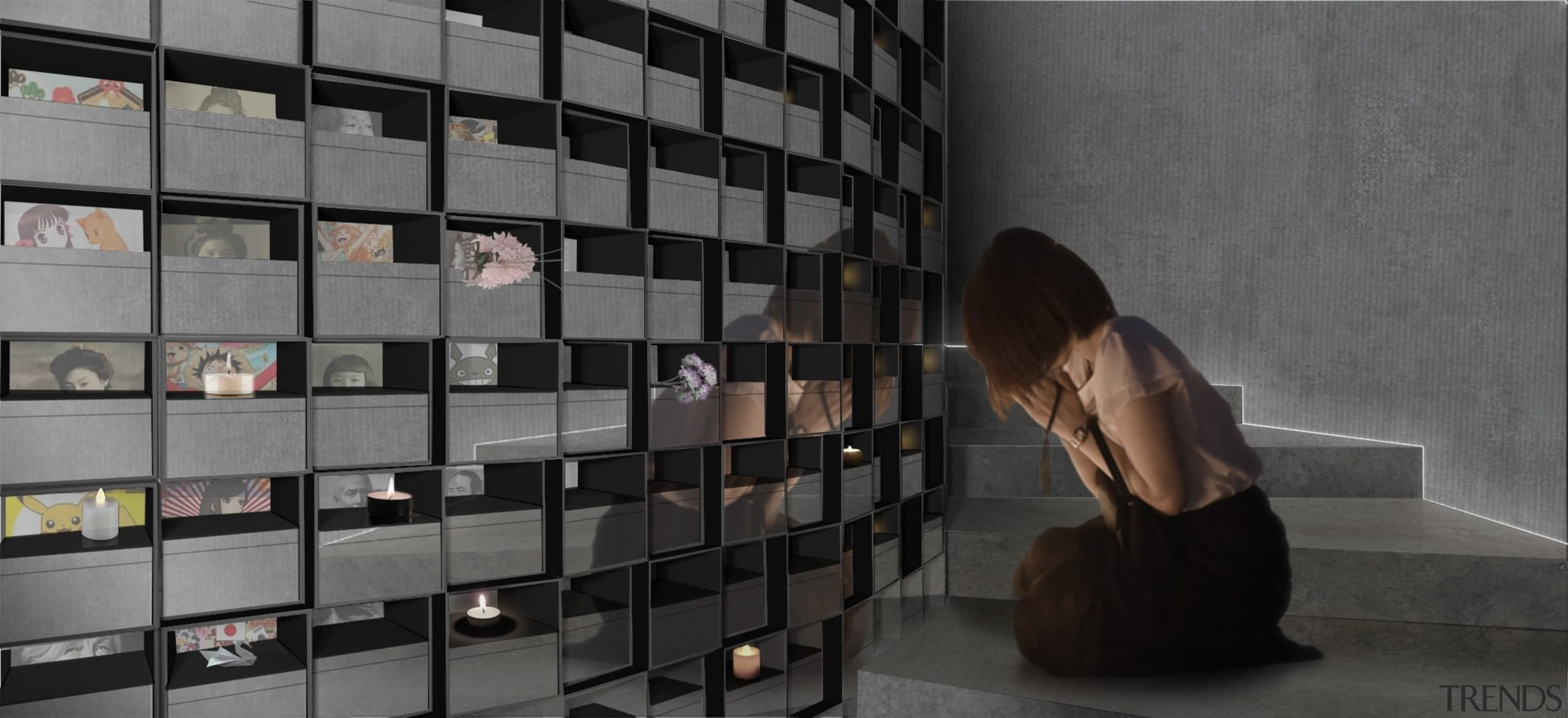 A place to reflect upon those who are floor, flooring, furniture, shelving, wall, gray, black