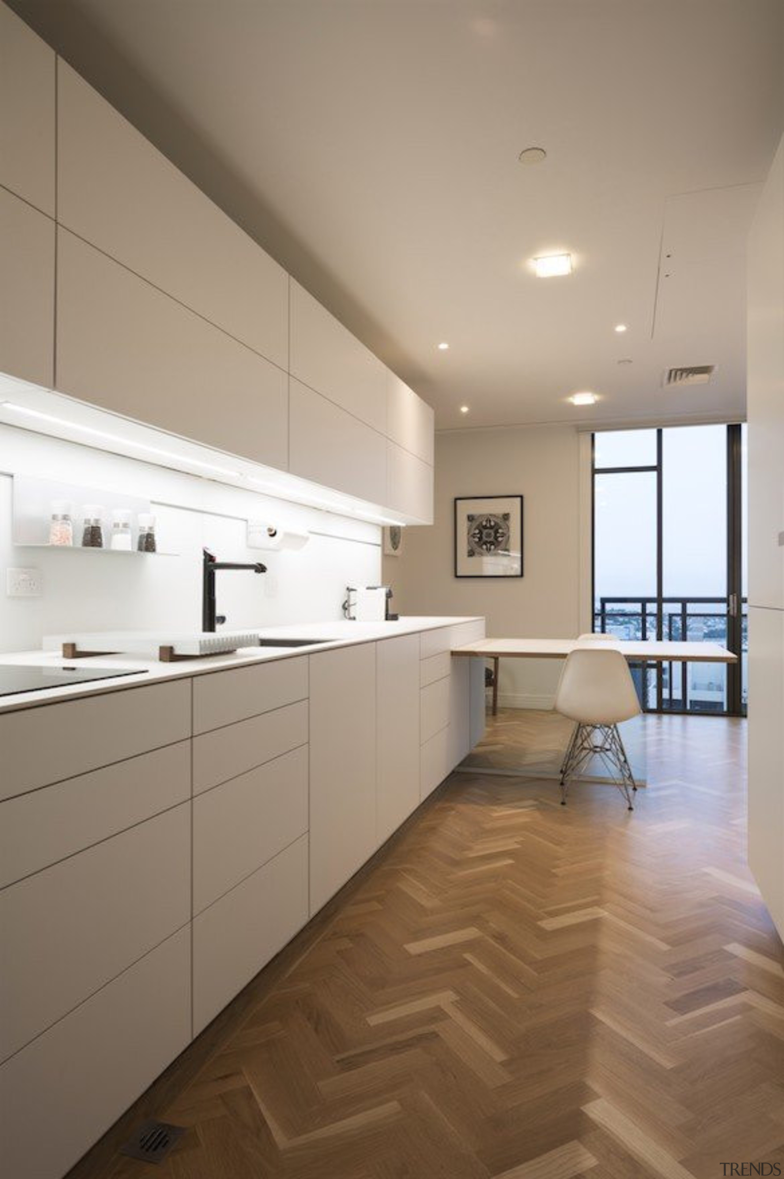 Highly Commended in the Category Imported Kitchen - architecture, cabinetry, ceiling, countertop, daylighting, floor, flooring, hardwood, interior design, kitchen, laminate flooring, real estate, room, tile, wood, wood flooring, gray, brown