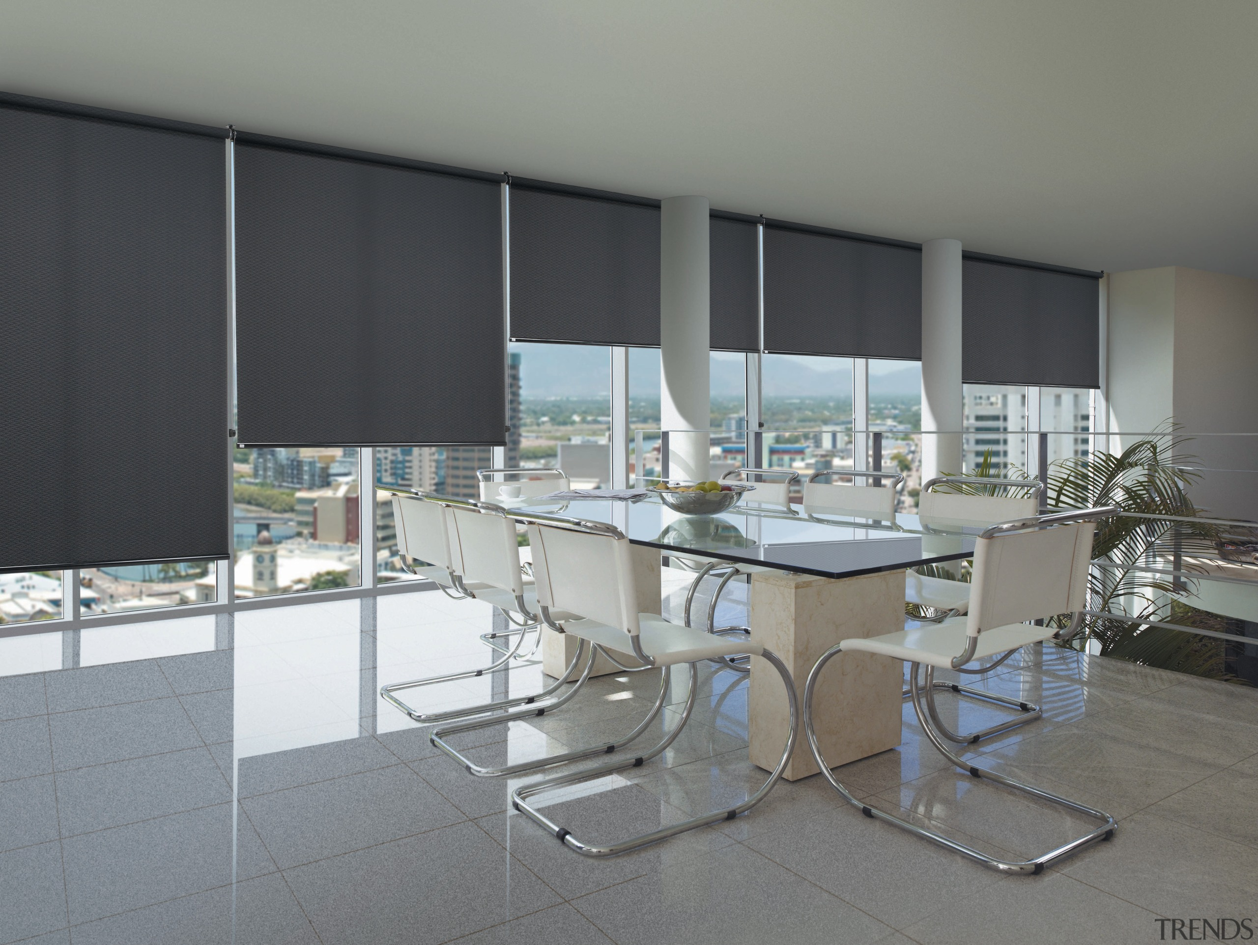 Interior view of an office area which features architecture, furniture, glass, interior design, real estate, table, window, window covering, gray