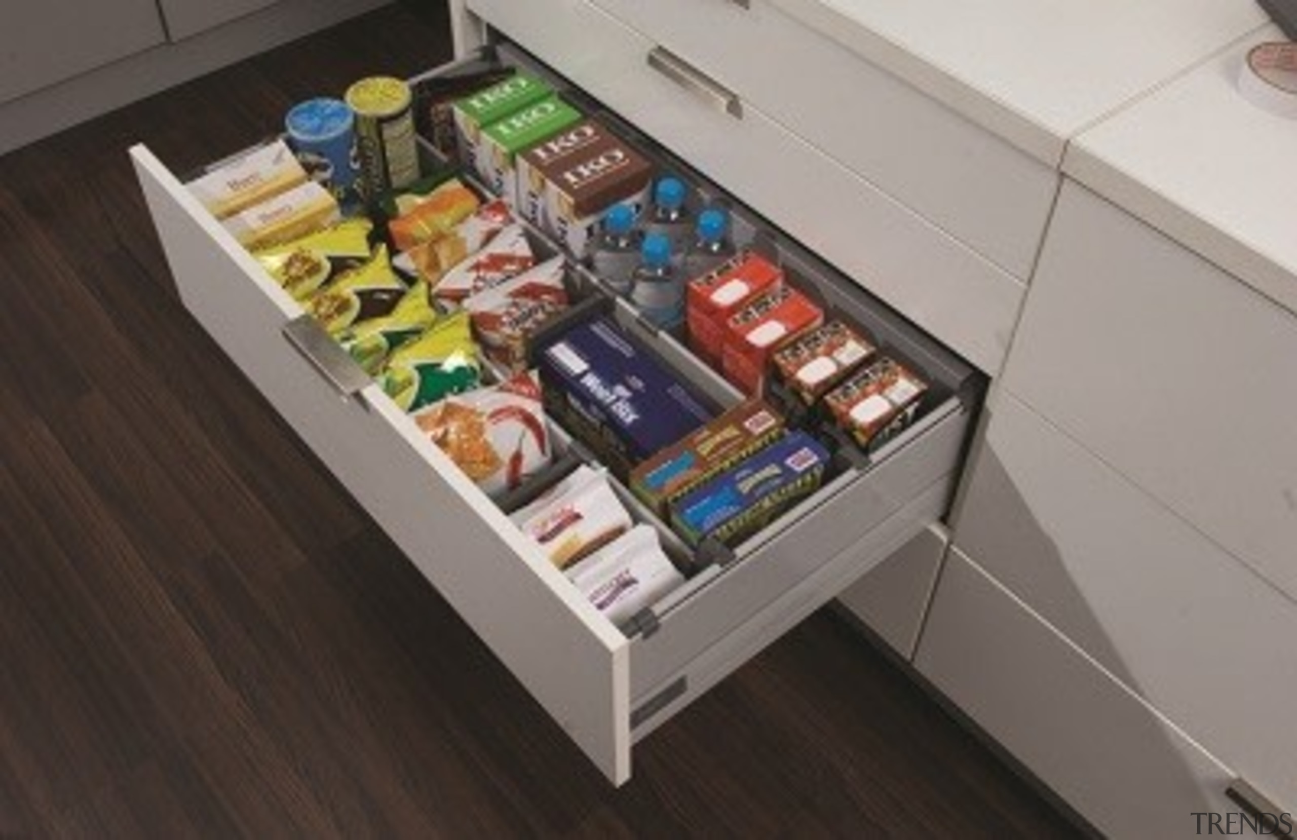 Kits attach to your own drawer fronts and drawer, product, gray, black