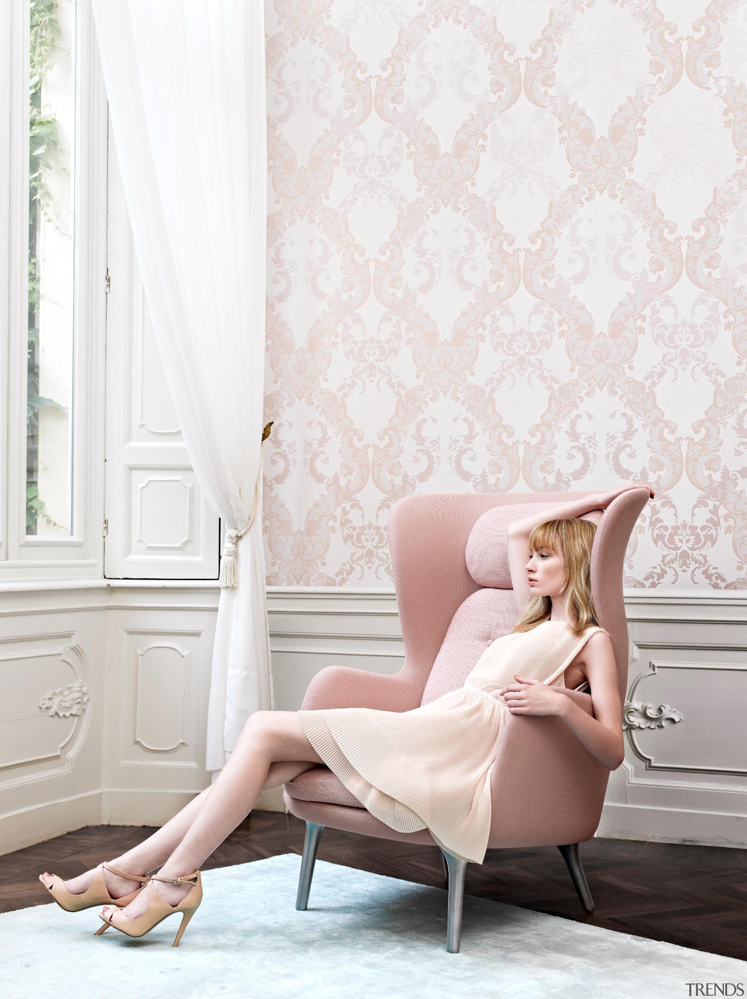 Camarque Range - Camarque Range - beauty   beauty, blond, chair, couch, floor, flooring, furniture, girl, human hair color, interior design, leg, long hair, photo shoot, pink, shoulder, sitting, wallpaper, white