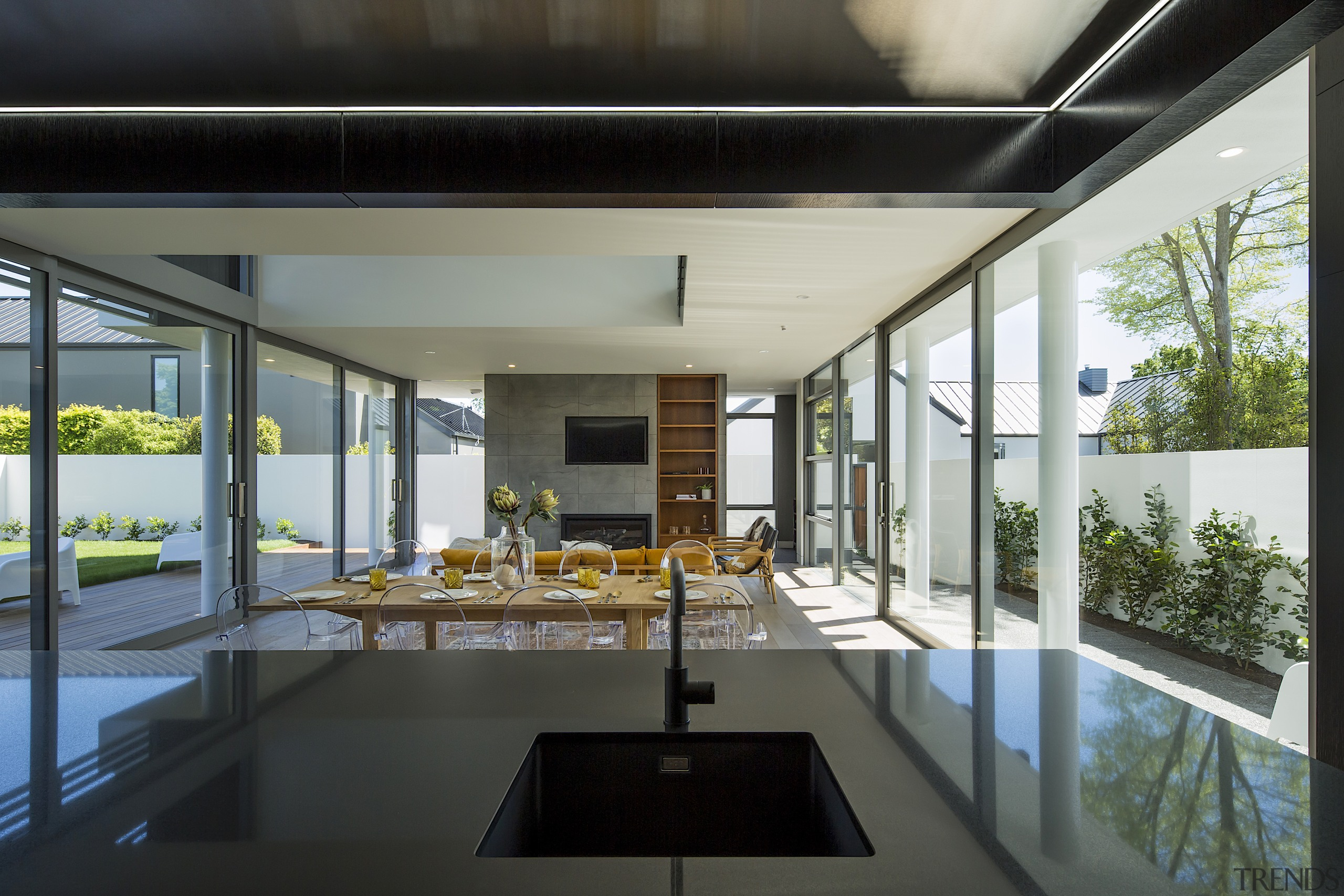 Though warm and inviting, the living-dining area features