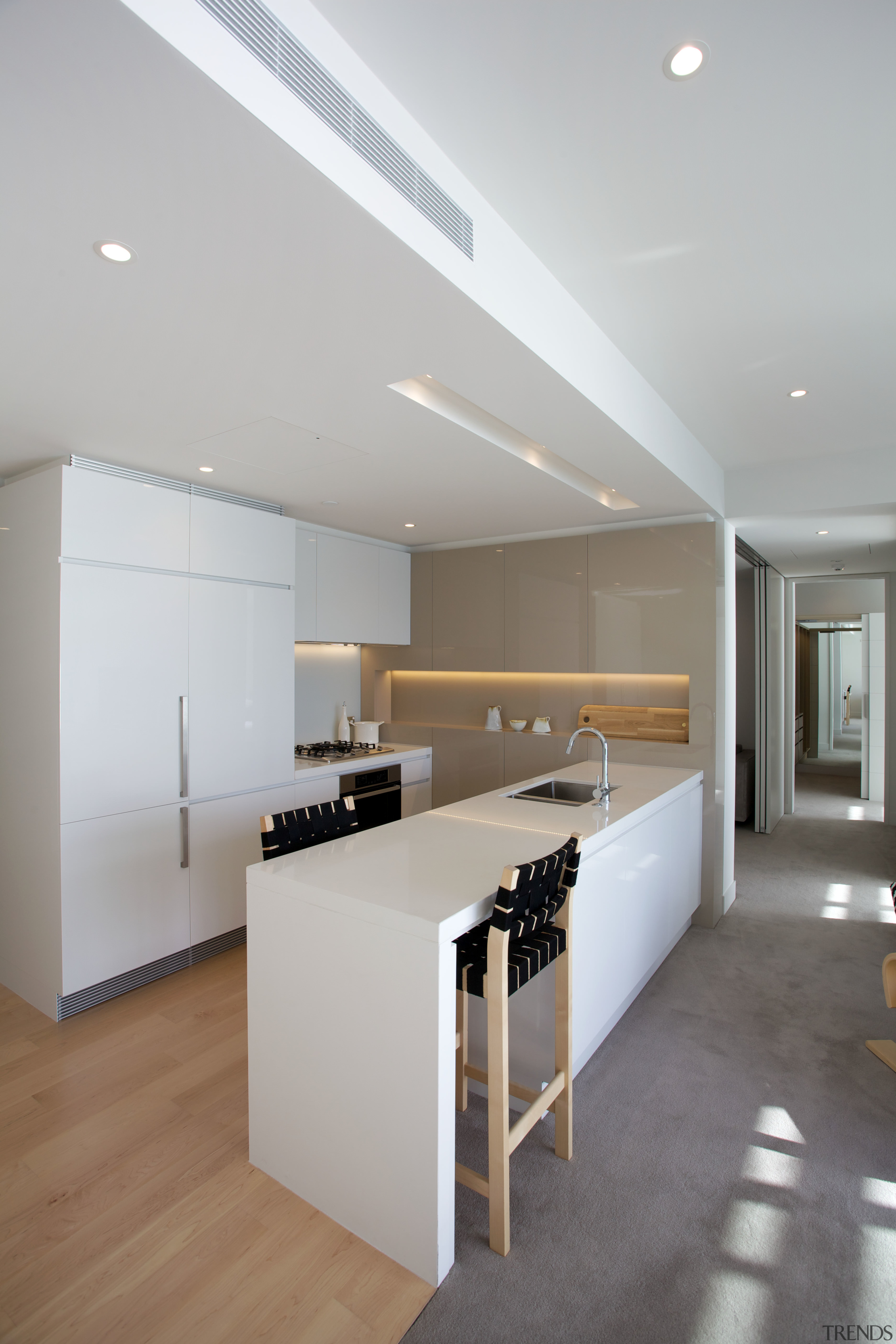 Space has been maximised in all the Clyde architecture, ceiling, countertop, daylighting, floor, flooring, house, interior design, kitchen, laminate flooring, product design, real estate, wood flooring, gray
