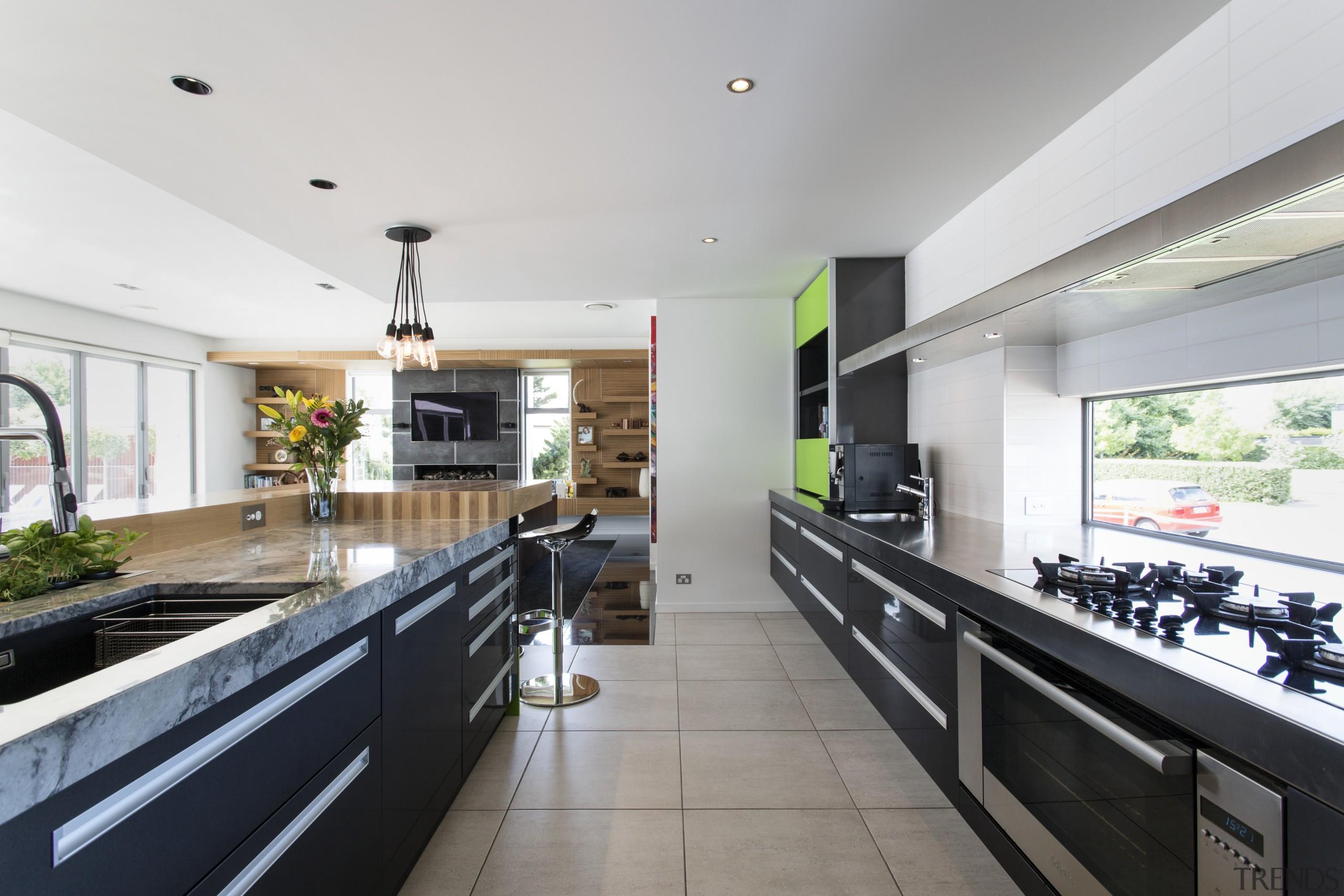 Storage aplenty  a bank of deep under-counter countertop, interior design, kitchen, real estate, white, gray