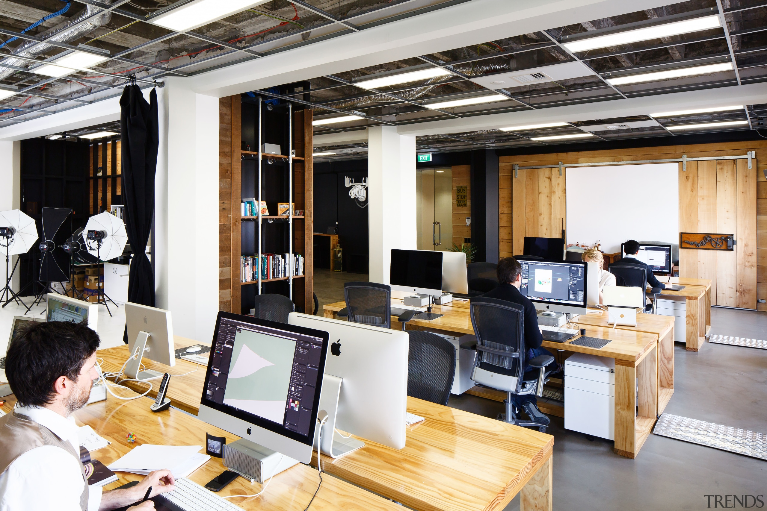 One end of the recycled timber wall at office, technology, white, black