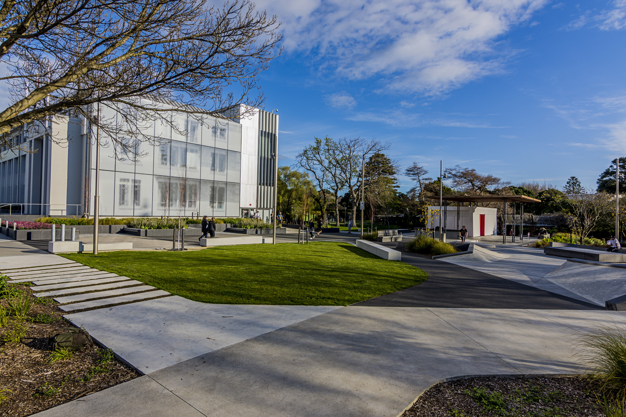 Both the Hutt Councils administration building and its architecture, building, campus, city, condominium, corporate headquarters, daytime, estate, facade, grass, headquarters, home, house, landscape, mixed use, neighbourhood, plant, plaza, real estate, residential area, sky, suburb, tree, urban design, gray, teal