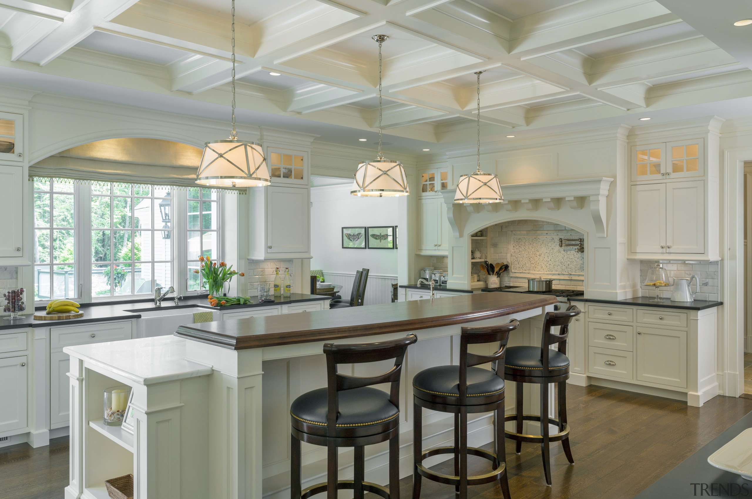 Calacatta marble on this island top is teamed cabinetry, ceiling, countertop, cuisine classique, estate, home, interior design, kitchen, real estate, room, gray