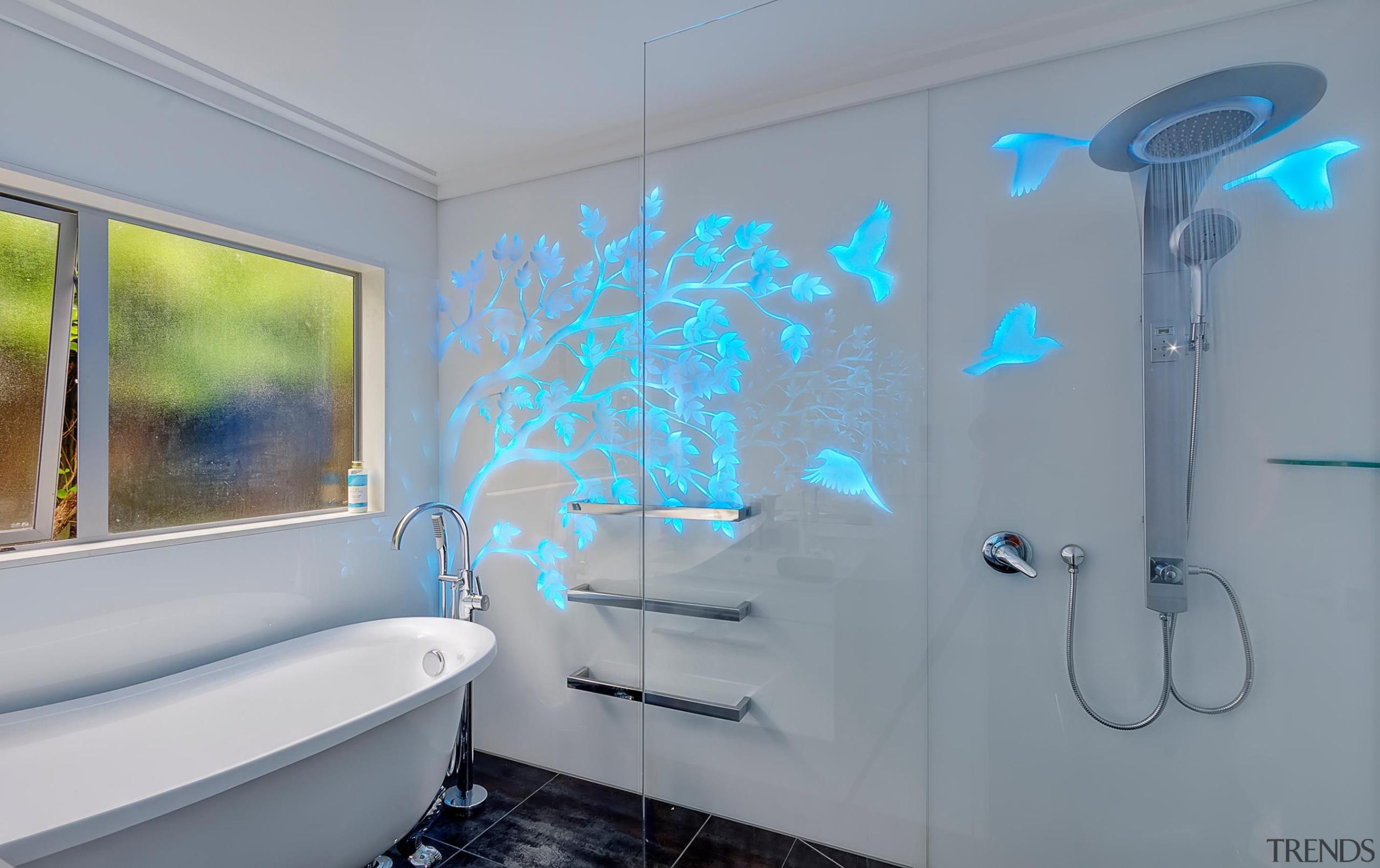 Colourful glass splashbacks create a dynamic backdrop in bathroom, blue, interior design, property, room, wall, gray
