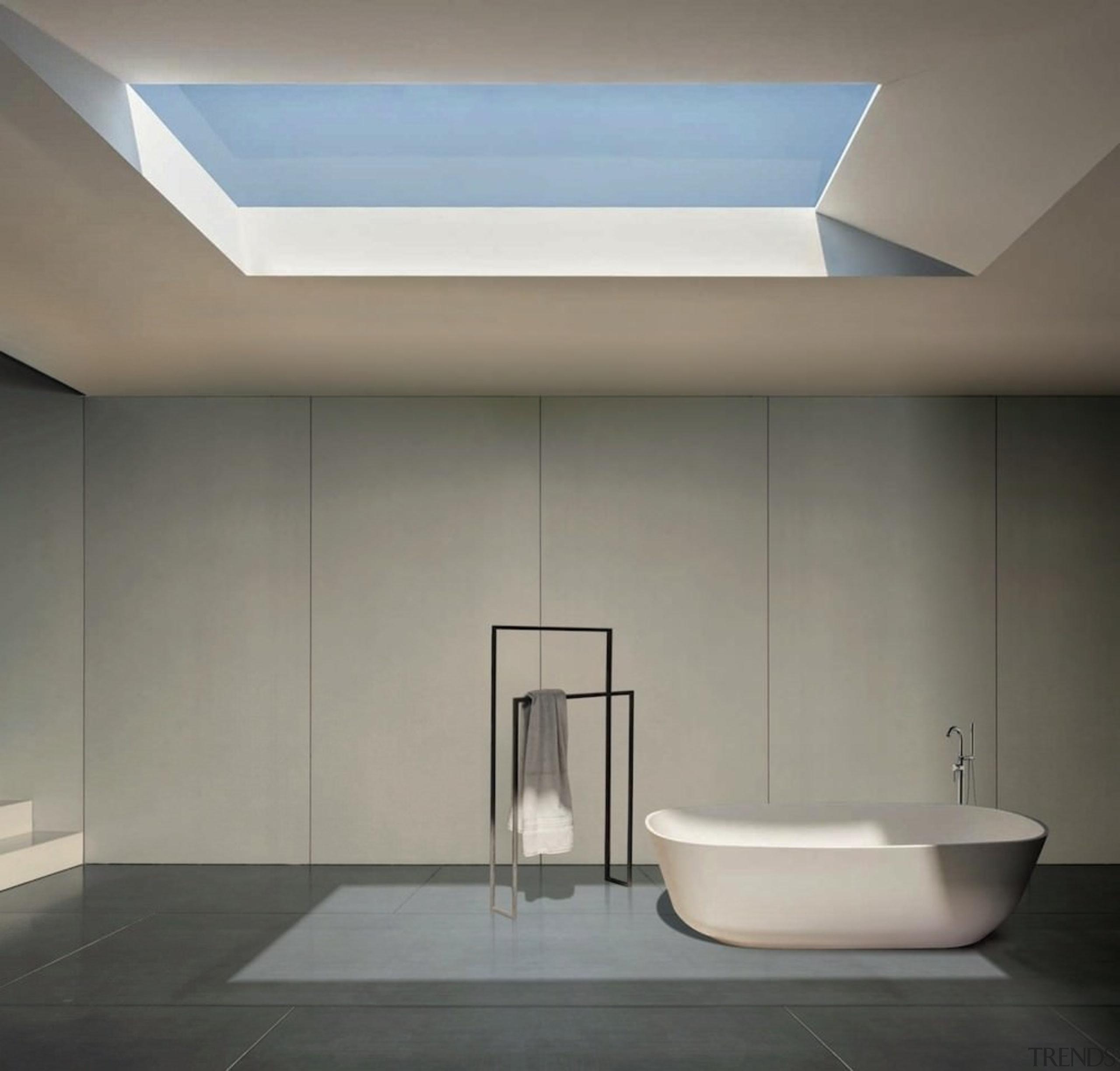 Like minimalism? This bathroom is like the set angle, architecture, bathroom, ceiling, daylighting, daytime, floor, interior design, lighting, product design, tap, gray