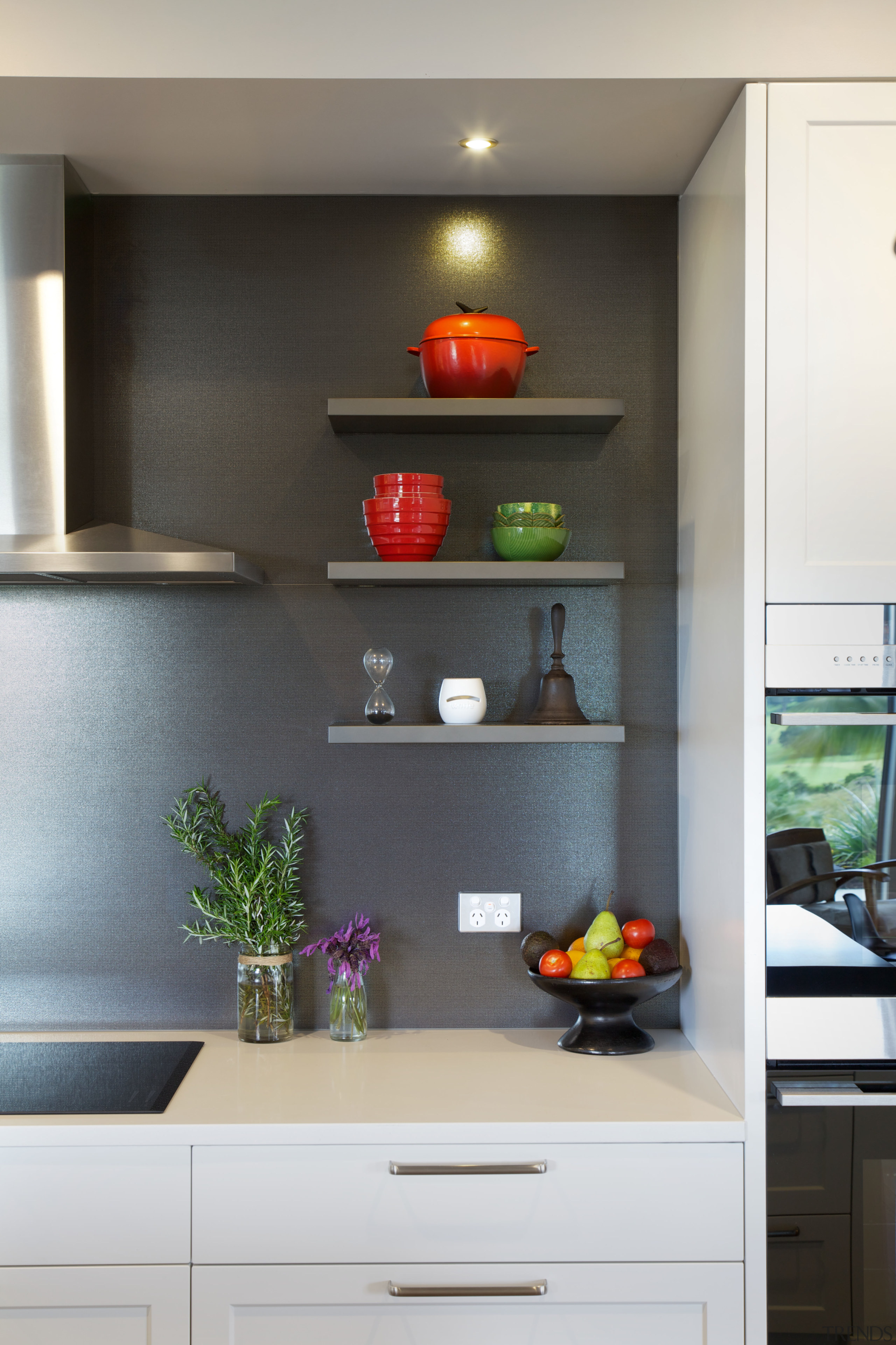 These floating shelves are a place for the cabinetry, countertop, home appliance, interior design, kitchen, room, shelf, white, black, gray