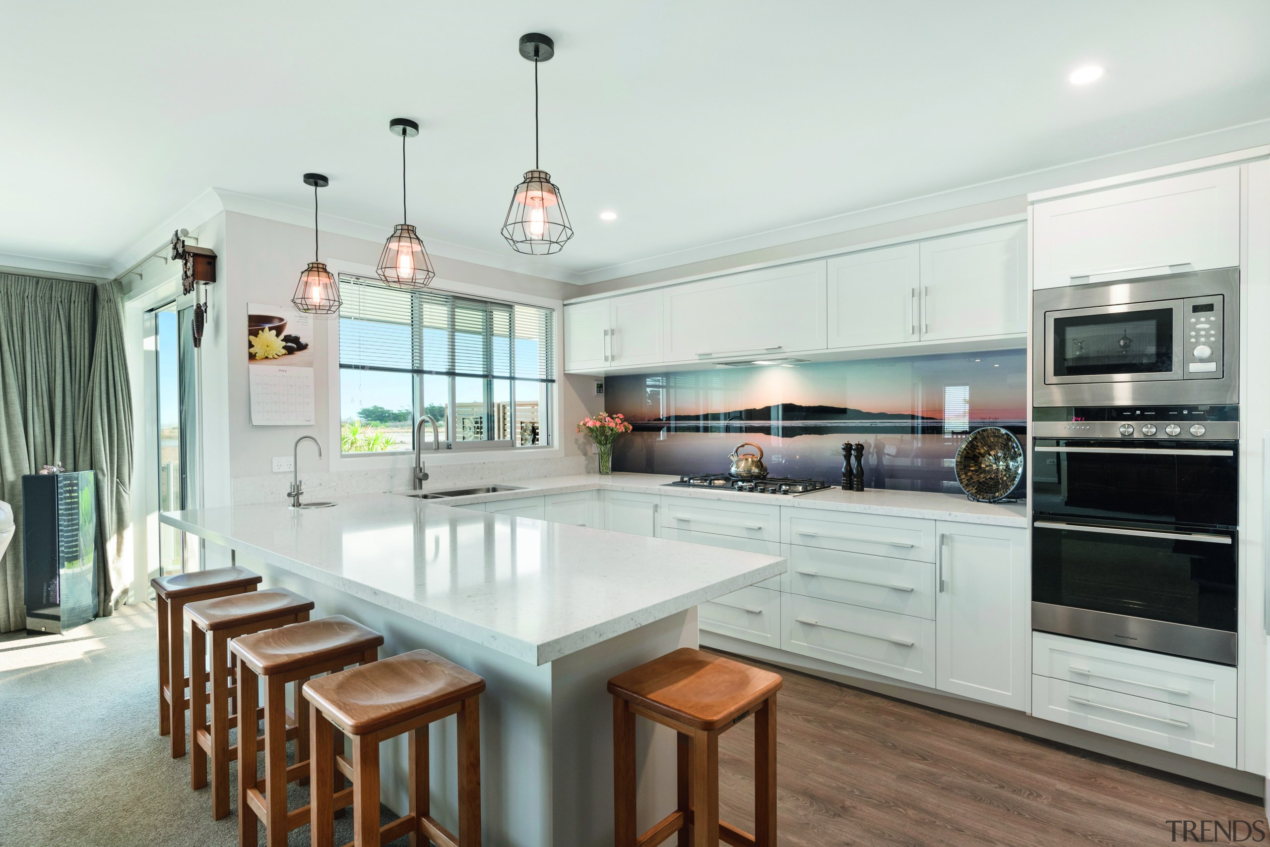 ​​​​​​​This sleek, modern kitchen boasts a stunning splashback, countertop, interior design, kitchen, white, Fowler Homes,  new home builder, splashback, fisher & paykel, appliances, new home builder