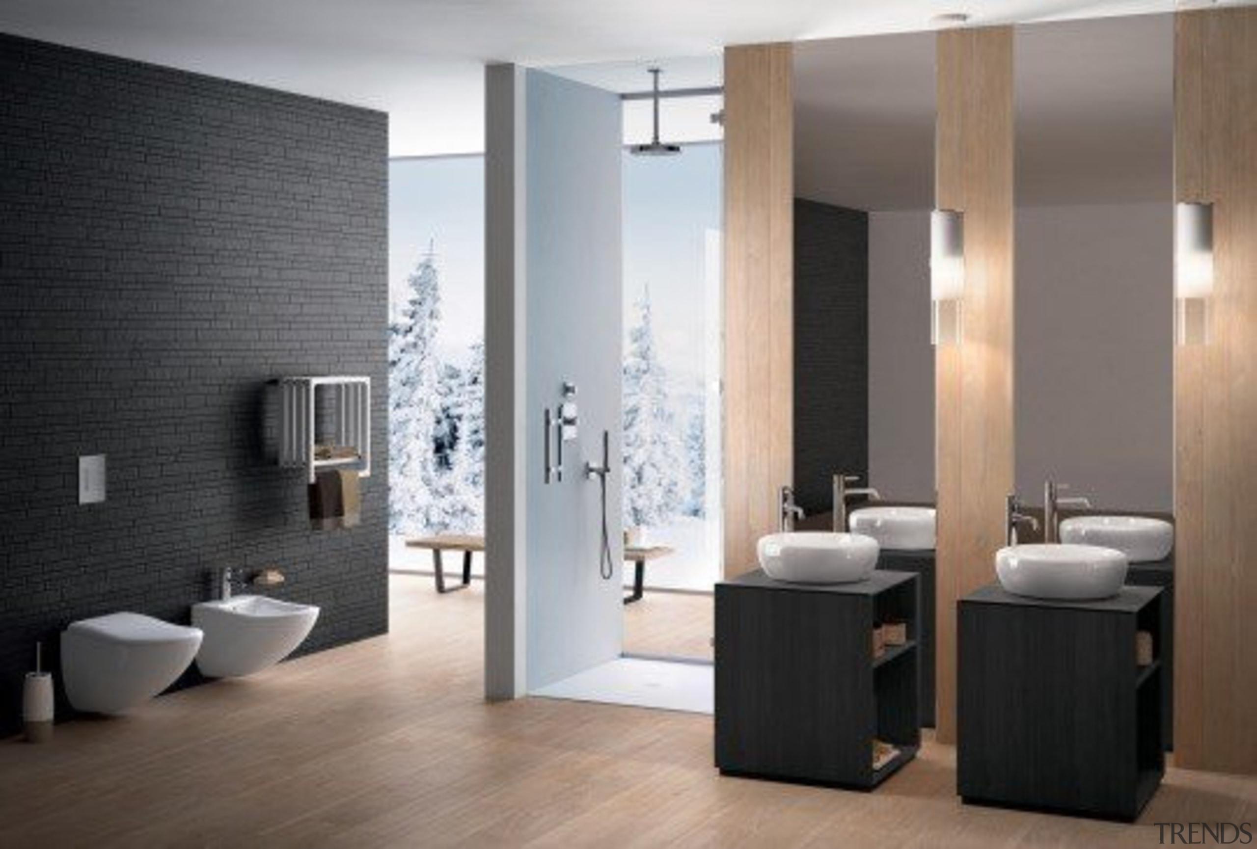 Fluid Ambiente - Fluid Ambiente - bathroom | bathroom, bathroom accessory, bathroom cabinet, floor, flooring, interior design, plumbing fixture, product design, room, tile, gray, black