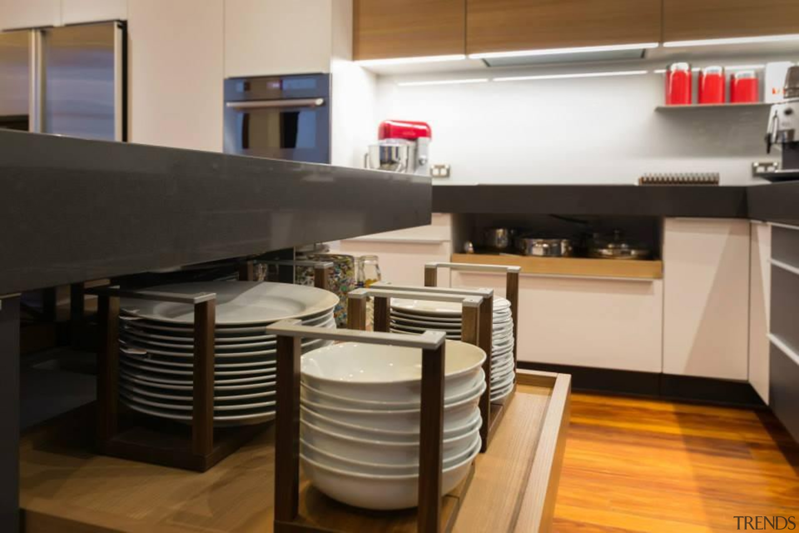 Great storage for your plates, bowls and pots.For countertop, interior design, kitchen, black, gray