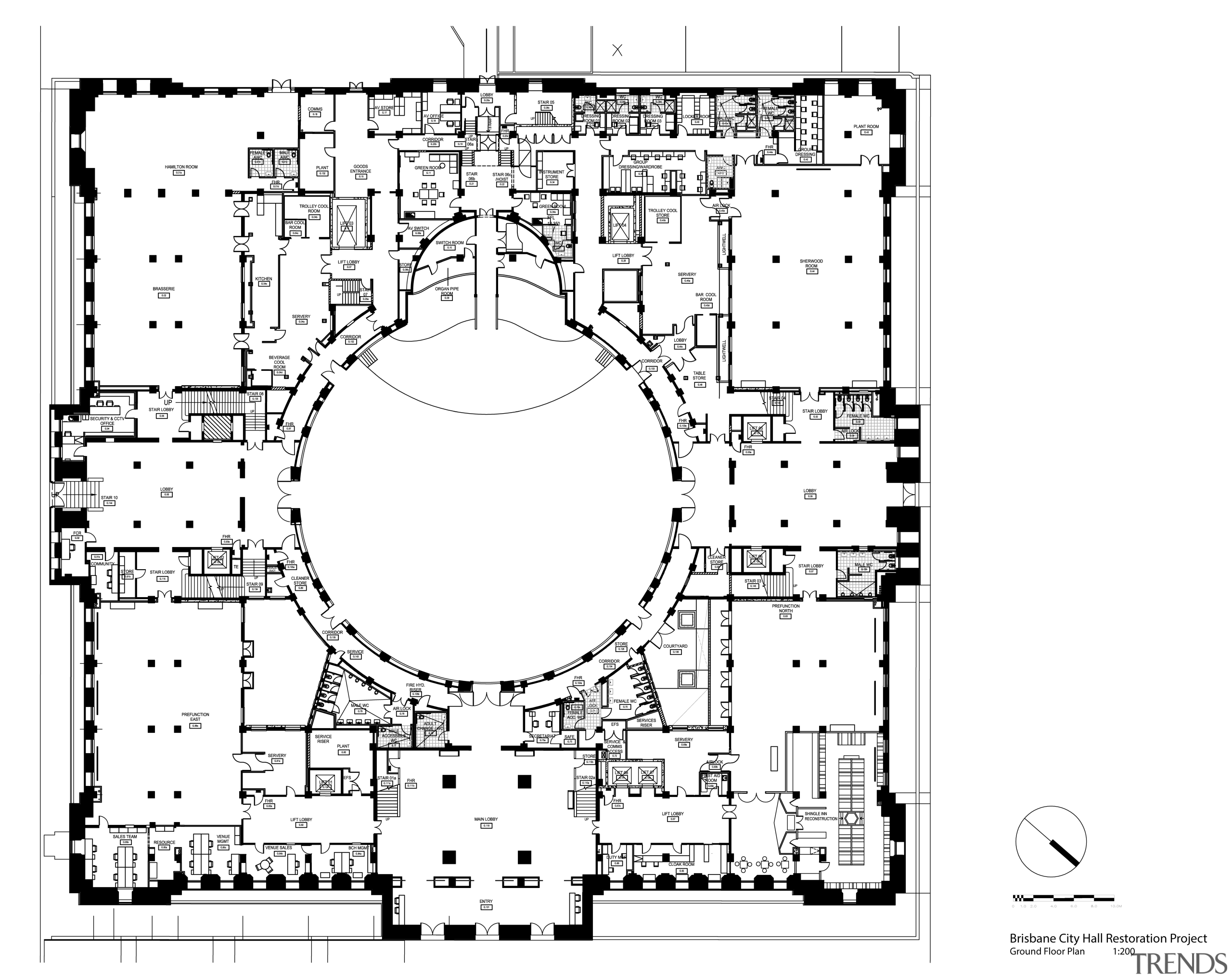 Code-compliant heritage restoration of Brisbane City Hall area, black and white, design, diagram, drawing, floor plan, font, line, monochrome, plan, text, white