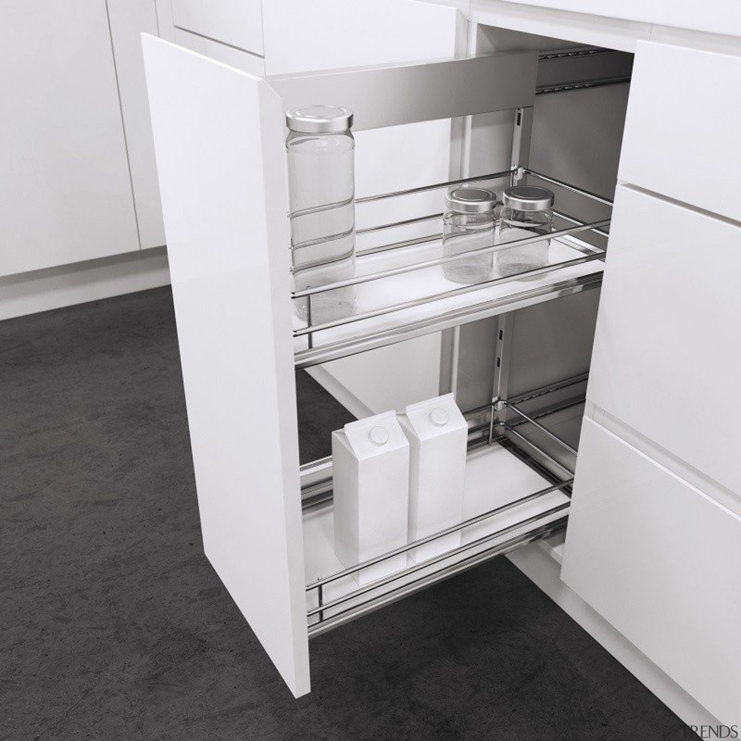 Vauth Sagel's Side Mounted Pull Out with Premea drawer, furniture, product, product design, shelf, shelving, white, black, gray