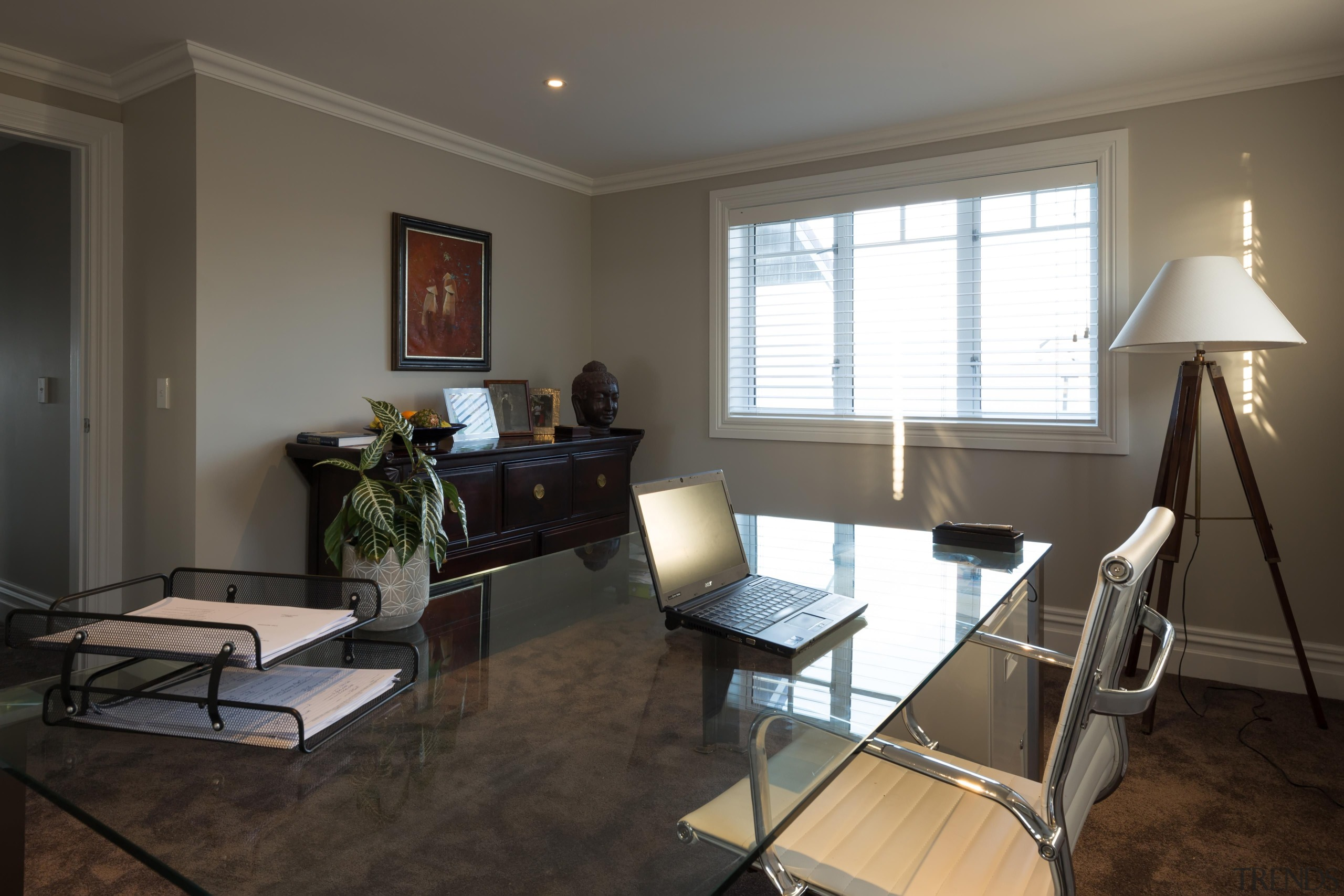 12 office after - Office After - floor floor, flooring, home, interior design, living room, real estate, room, black, gray