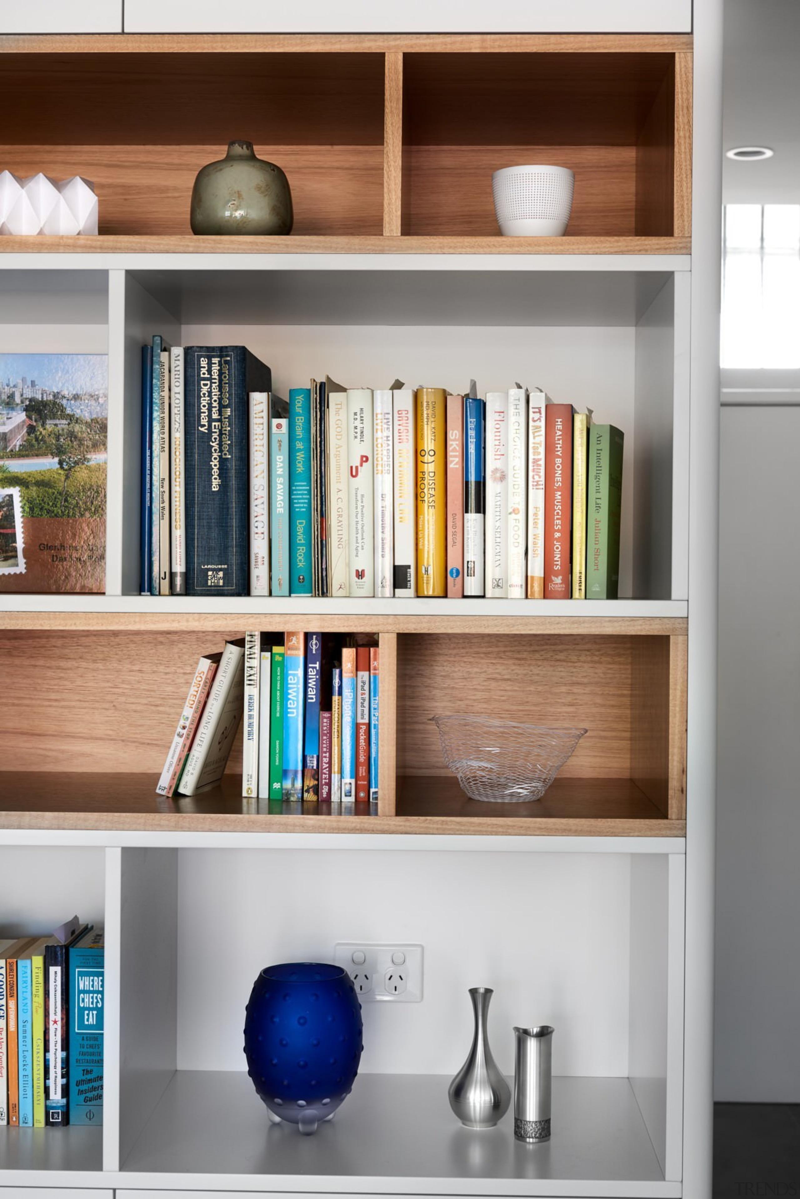 A thoughtful integrated bookshelf unit - A thoughtful bookcase, furniture, shelf, shelving, gray