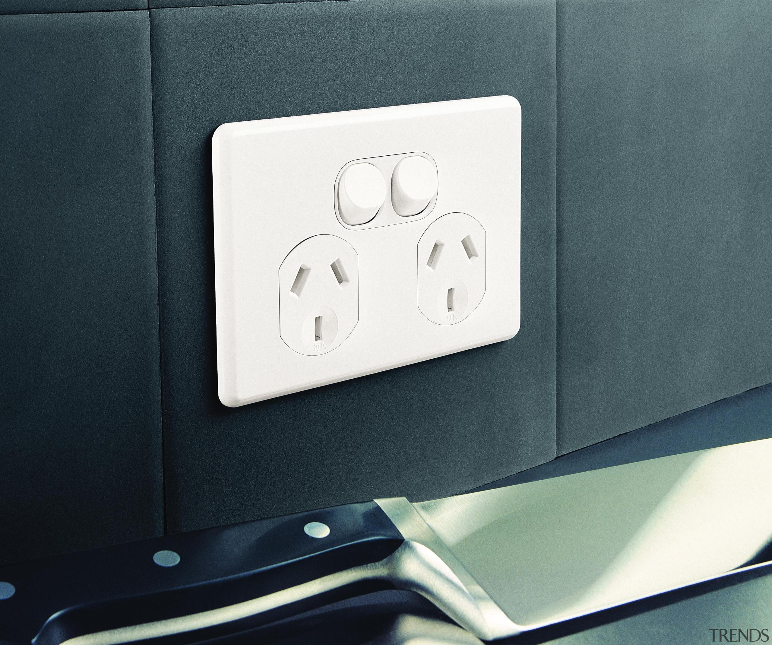 Slimline double socket - Slimline double socket - product, technology, black, gray