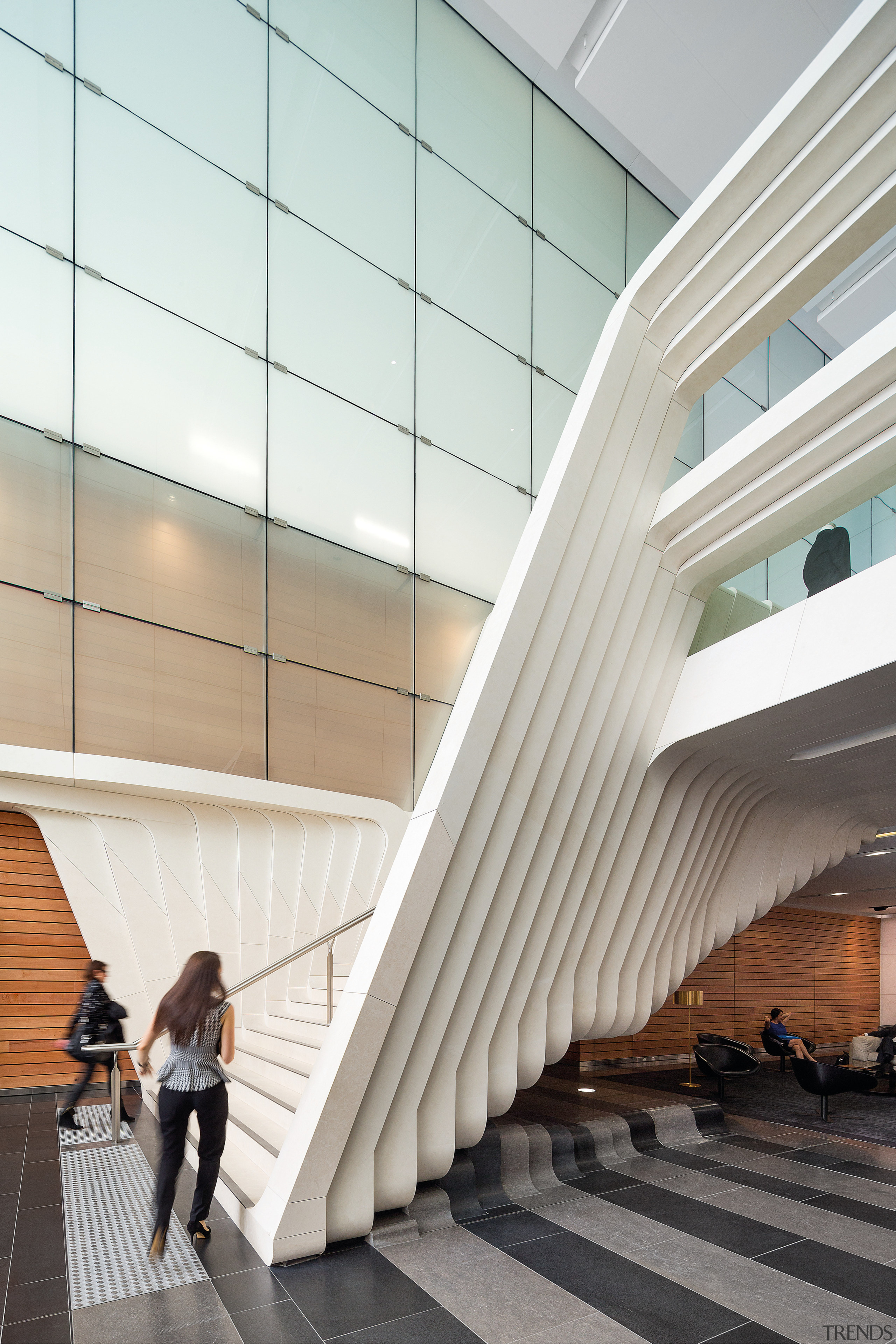 The white limestone stairs appear to turn upwards architecture, building, ceiling, daylighting, gray, white