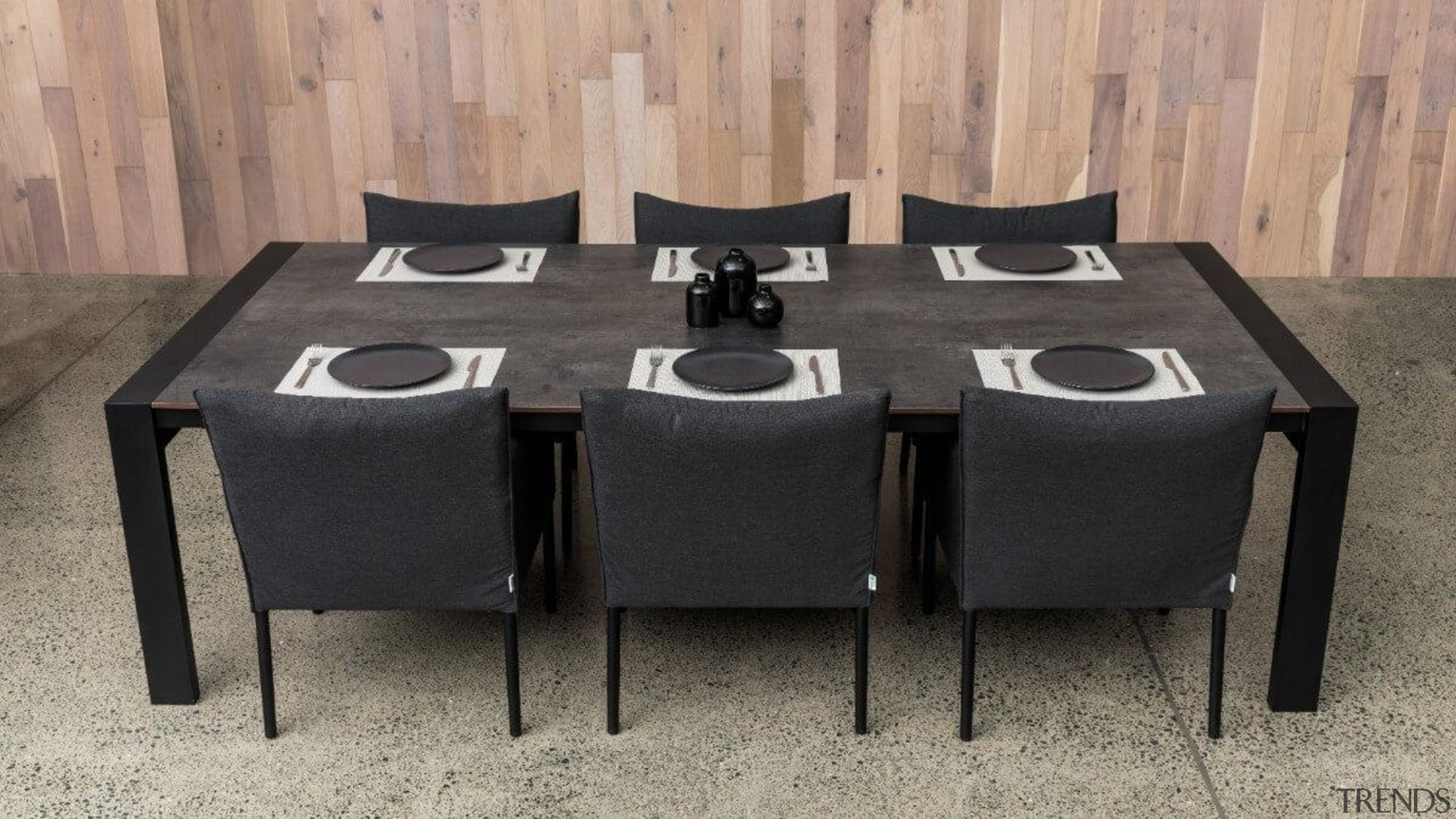 The Marlborough table incorporates an HPL top chair, coffee table, furniture, kitchen & dining room table, outdoor table, rectangle, room, table, tablecloth, textile, gray, black