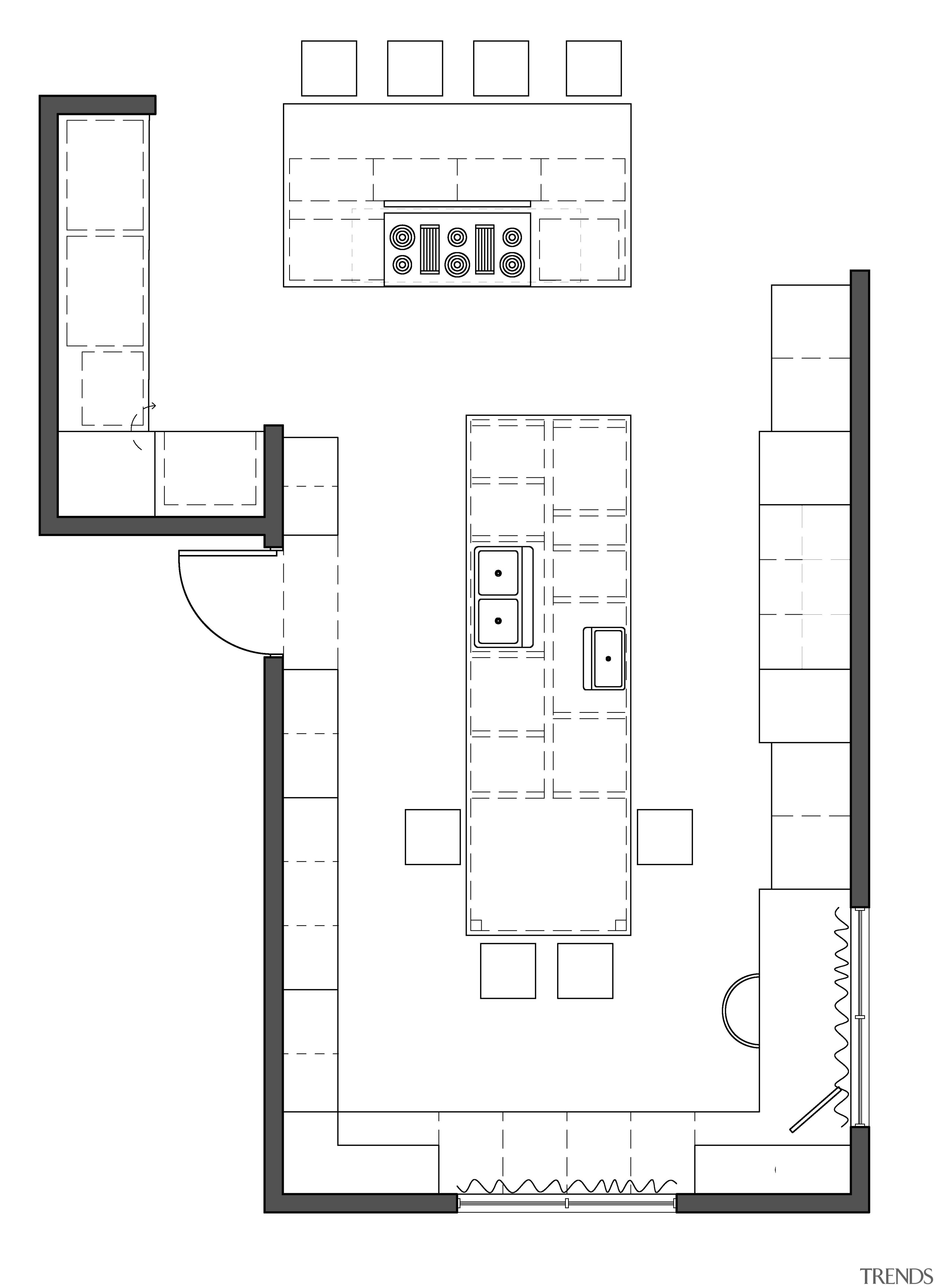 Plan of traditional white kitchen design by Jamie angle, architecture, area, black and white, design, diagram, drawing, floor plan, line, plan, product, product design, square, structure, white