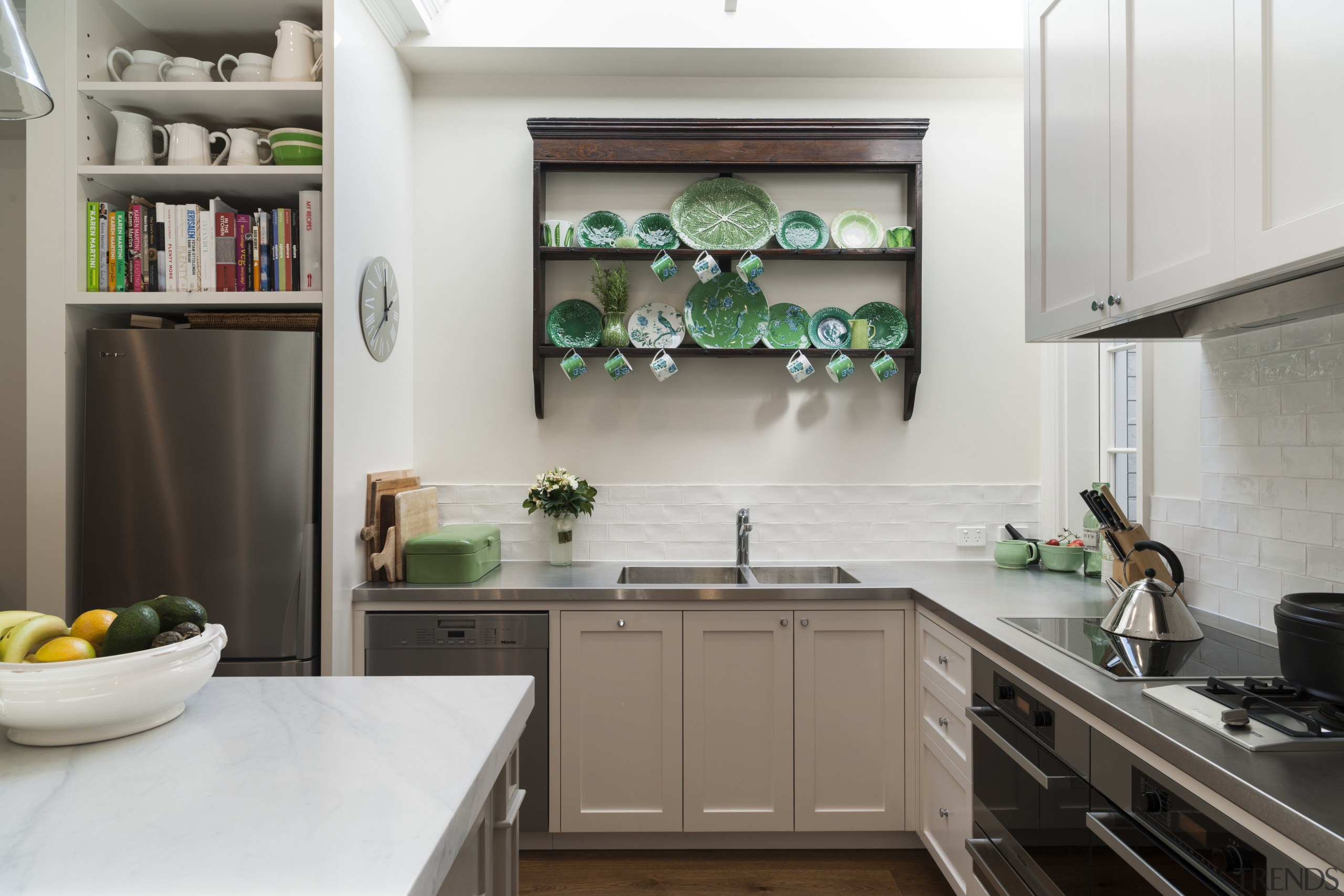 White undulating tiles on the splashback add brightness cabinetry, countertop, cuisine classique, home, home appliance, interior design, kitchen, room, gray, white