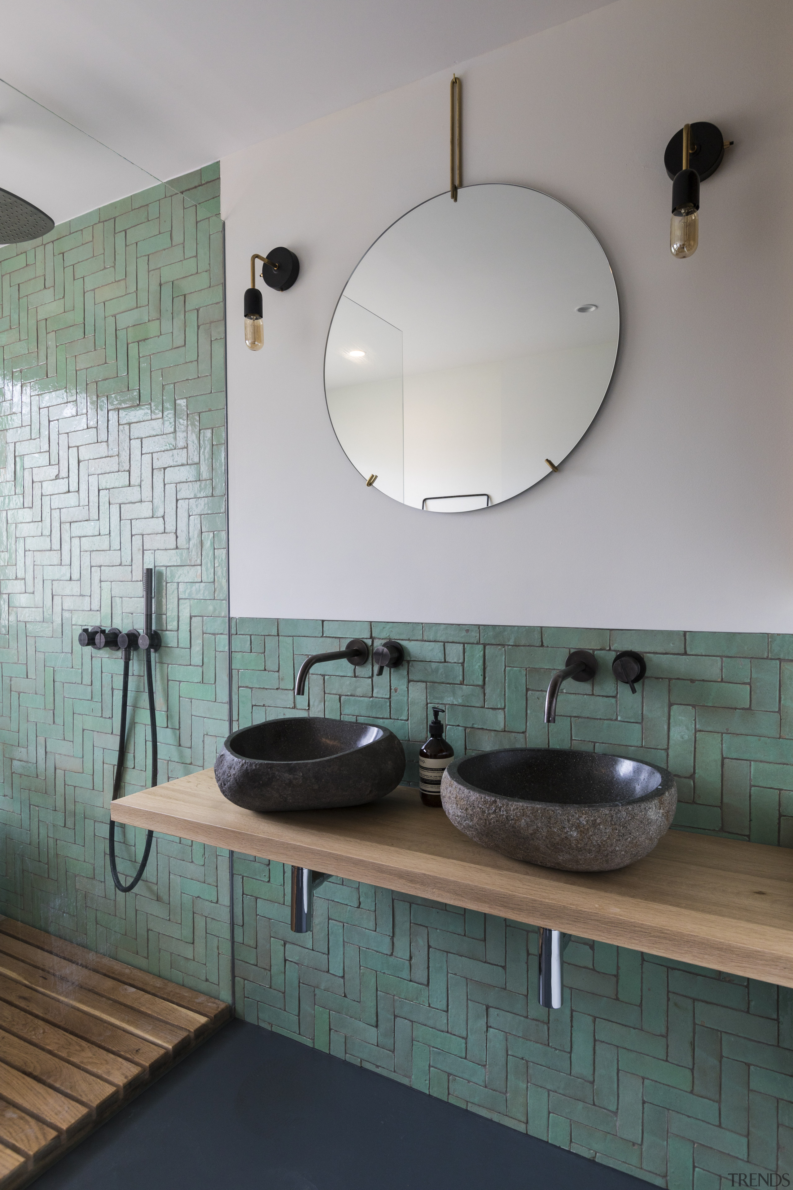 ​​​​​​​A combination of warm wood, blue-green tiles and architecture, bathroom, bathroom sink, ceramic tiles, countertop, floor, flooring, house, bathroom design, marble, plumbing fixture, sink, tap, tile, wall, gray, Cantero Architecture