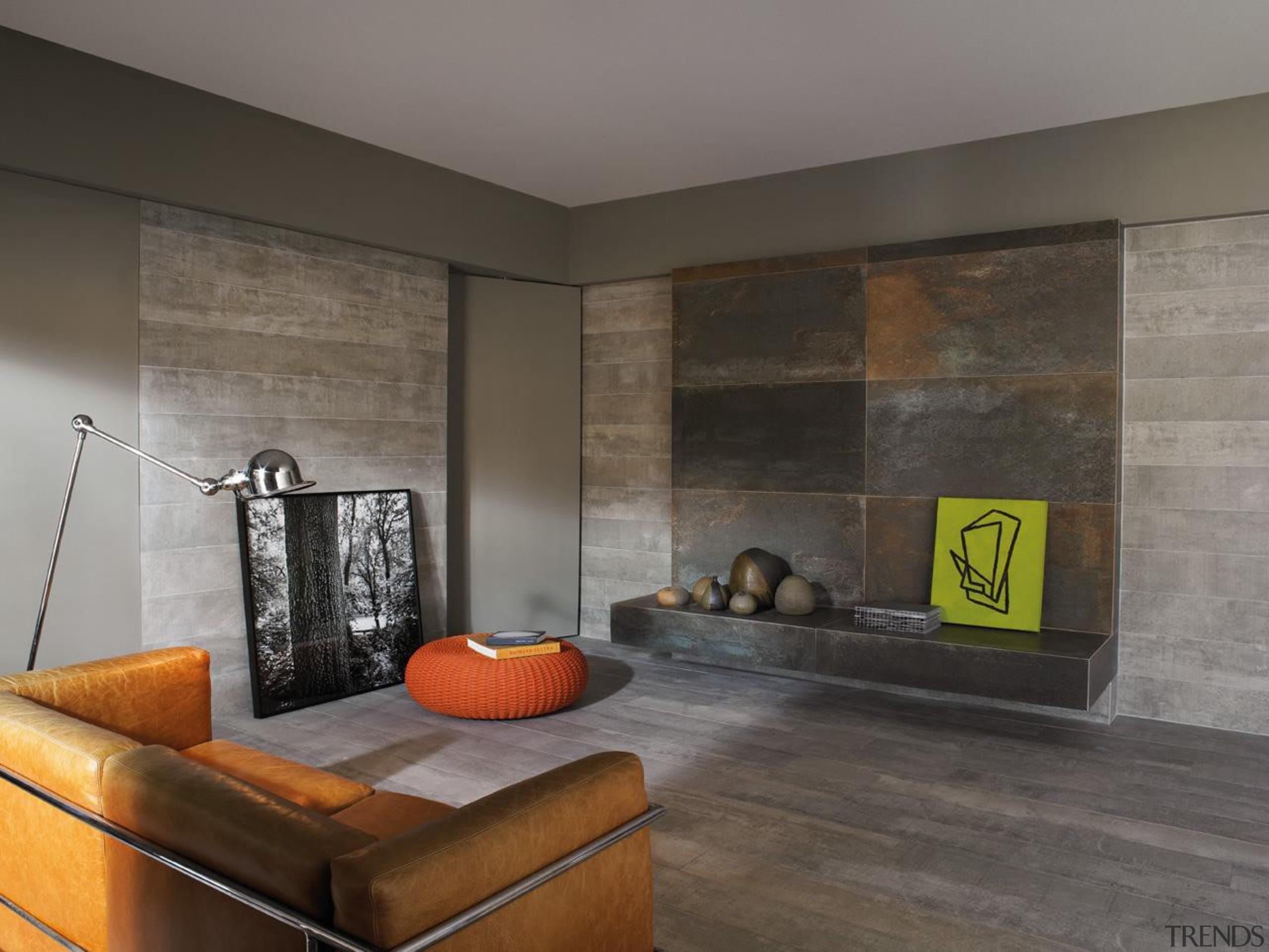 Floor and walls of this modern industrial style ceiling, floor, flooring, interior design, living room, room, wall, wood flooring, gray, black