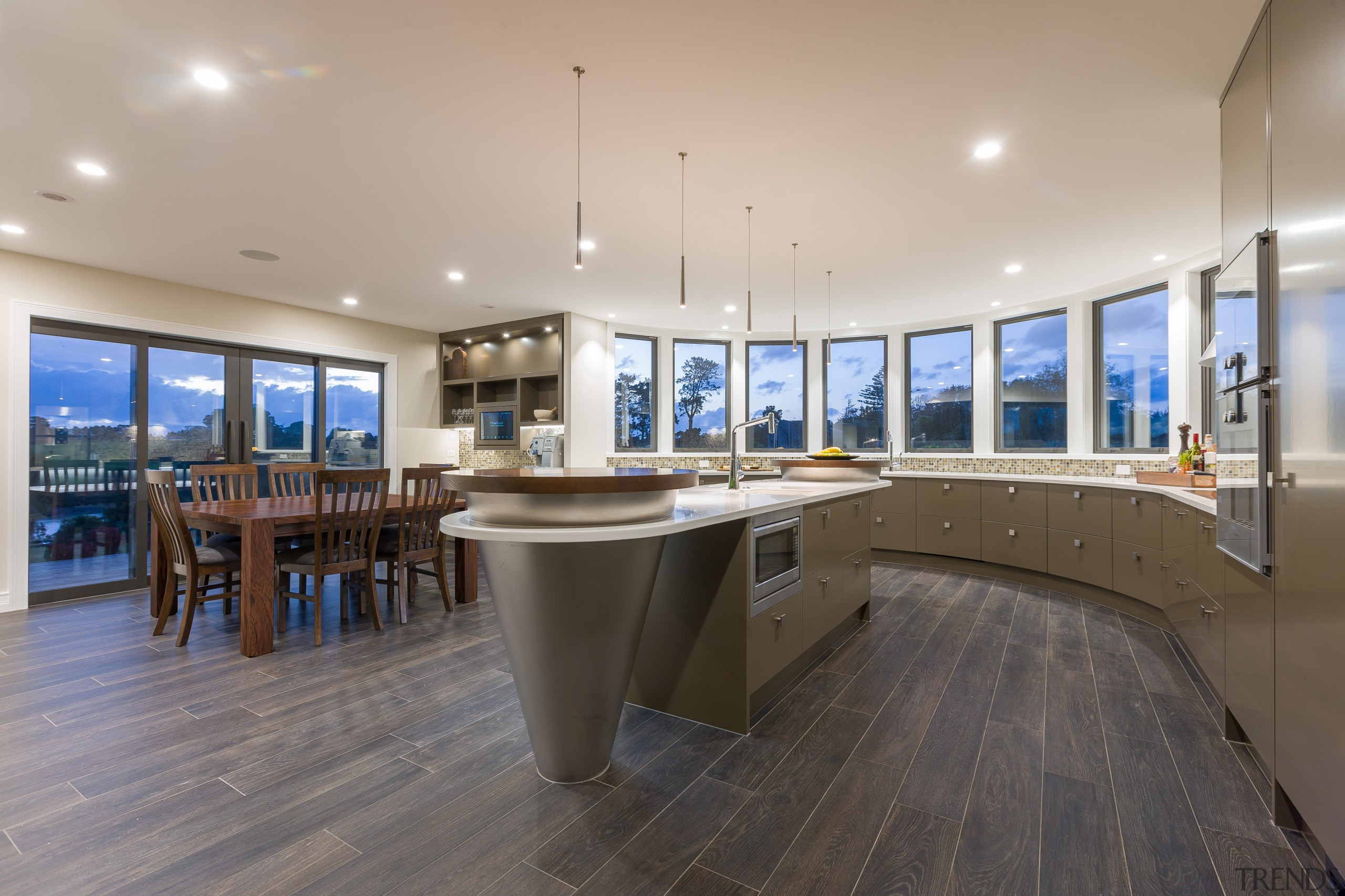 Most cabinetry is under-bench in this kitchen design interior design, real estate, gray