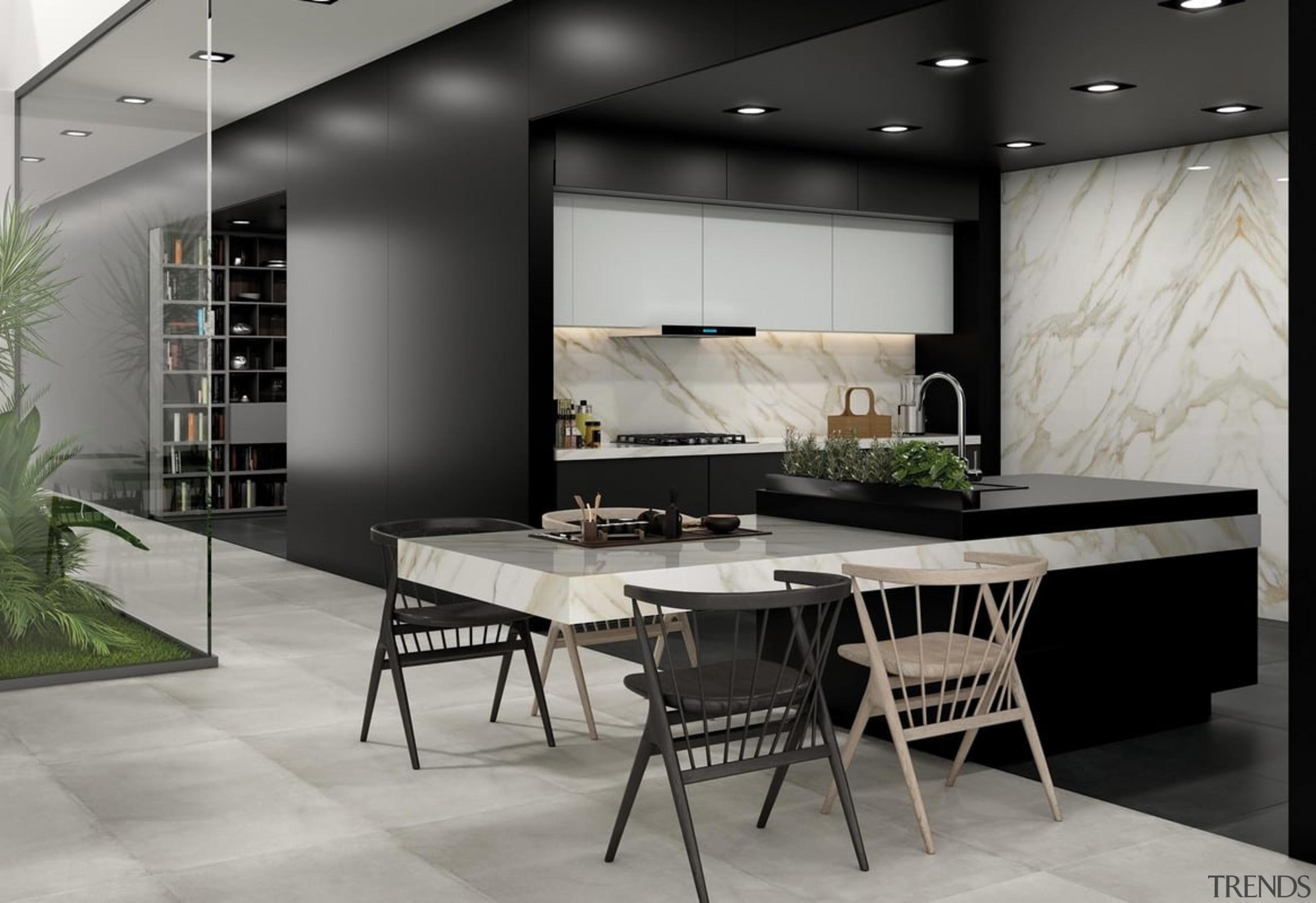 Universal Granite And Marbles Showroom - dining room dining room, floor, flooring, furniture, interior design, table, gray, black