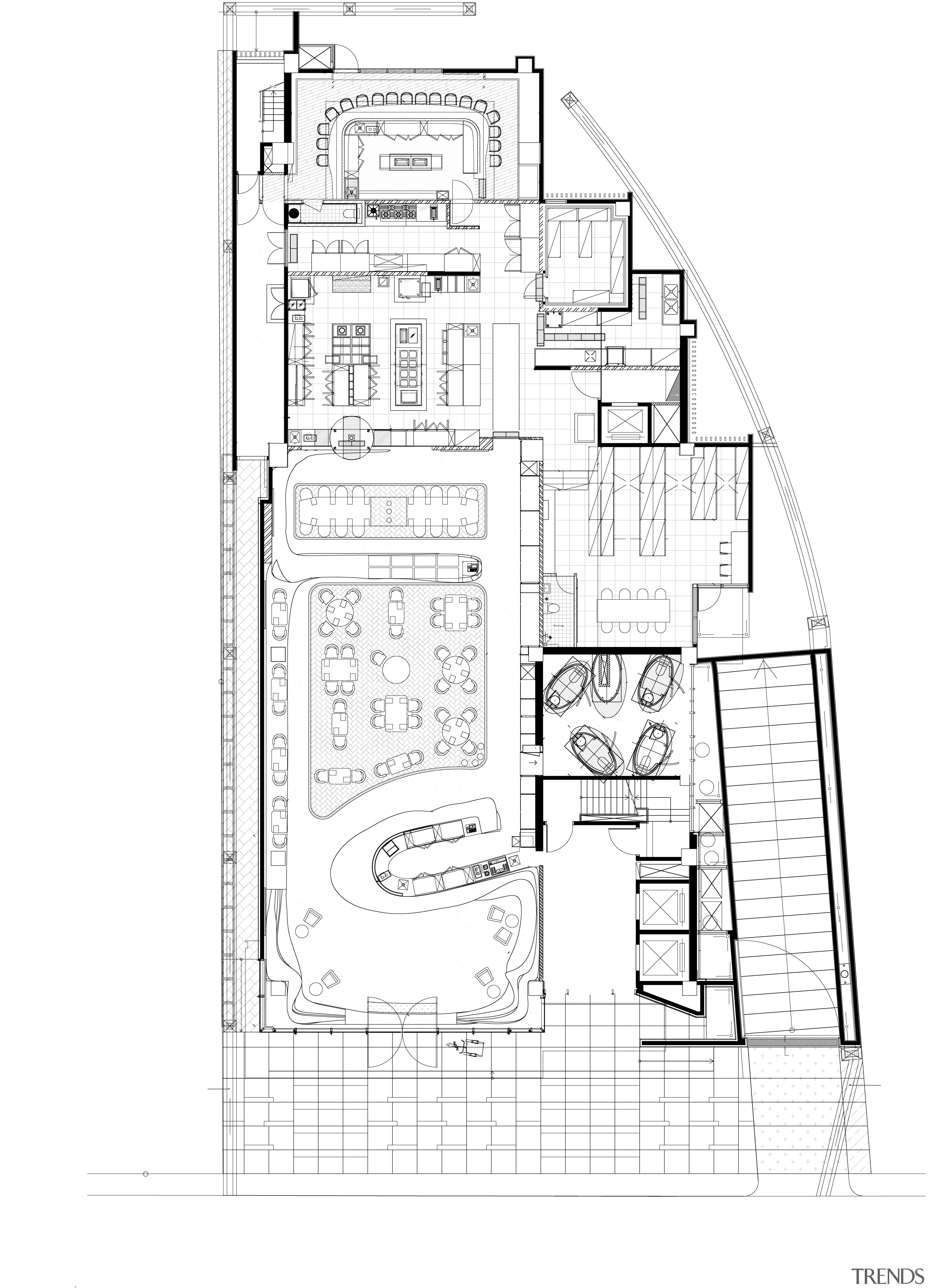 The centrepiece of Raw restaurant in Taipei is architecture, area, artwork, black and white, design, diagram, drawing, elevation, floor plan, home, line, line art, plan, product, product design, schematic, sketch, structure, technical drawing, text, white