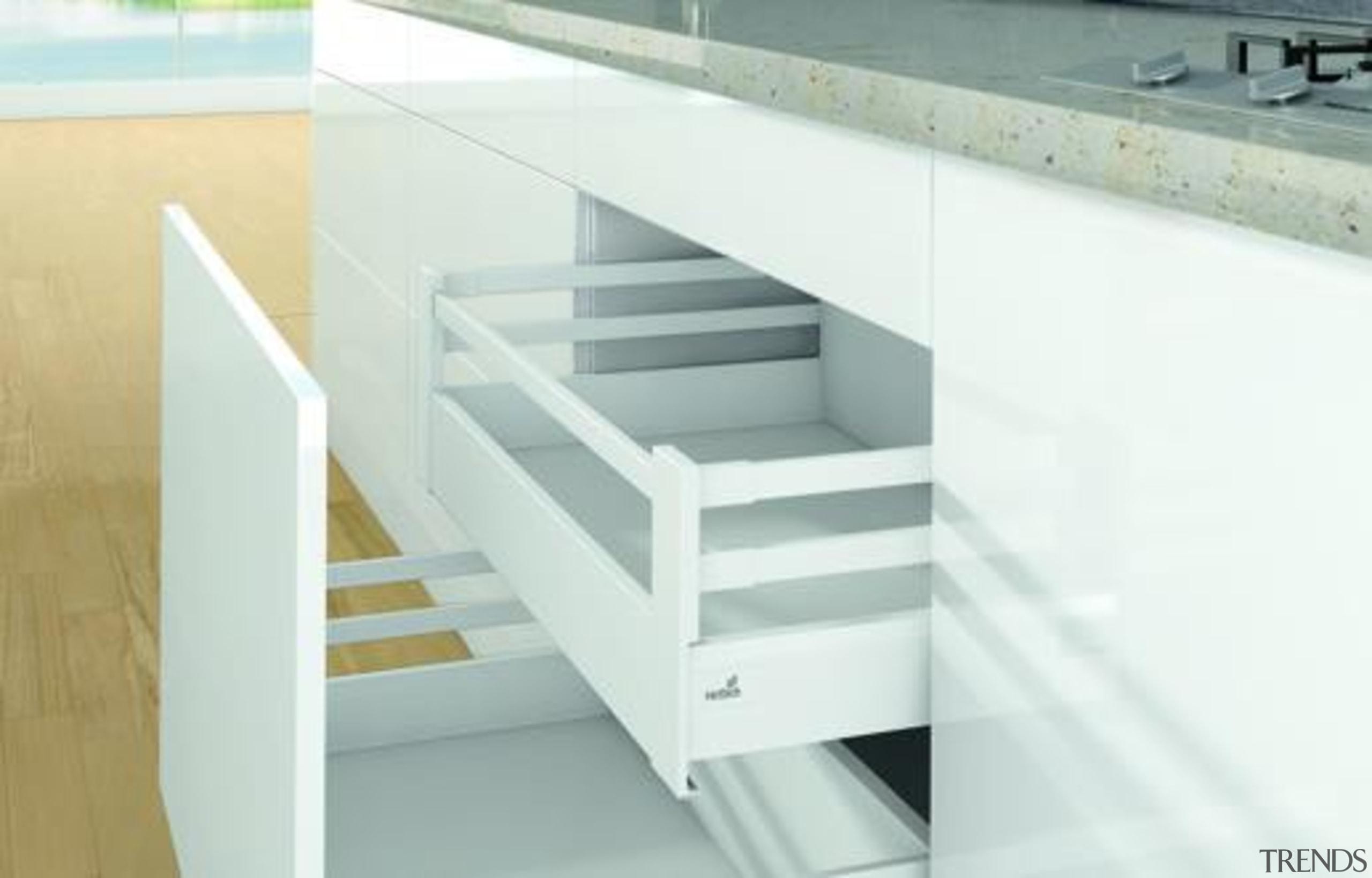 Pot & Pan Drawers - Pot & Pan furniture, handrail, product, product design, shelf, shelving, stairs, white
