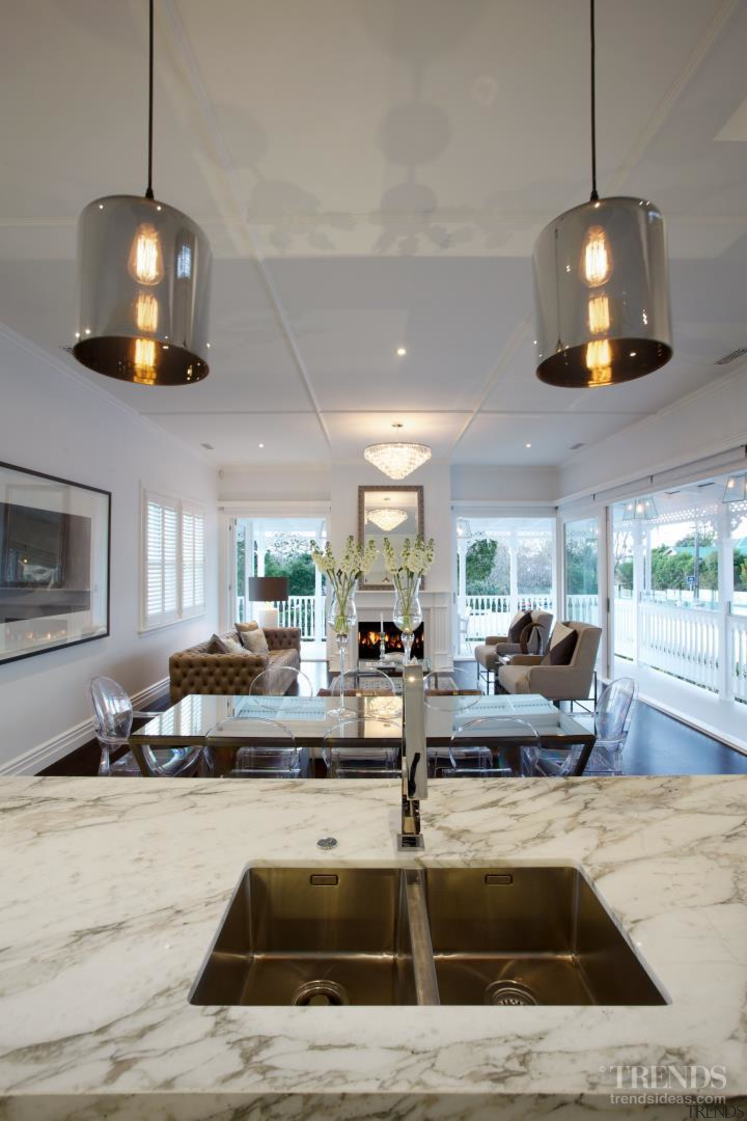 Grand affair – classic weatherboards, filigree detailing and ceiling, countertop, interior design, kitchen, table, gray