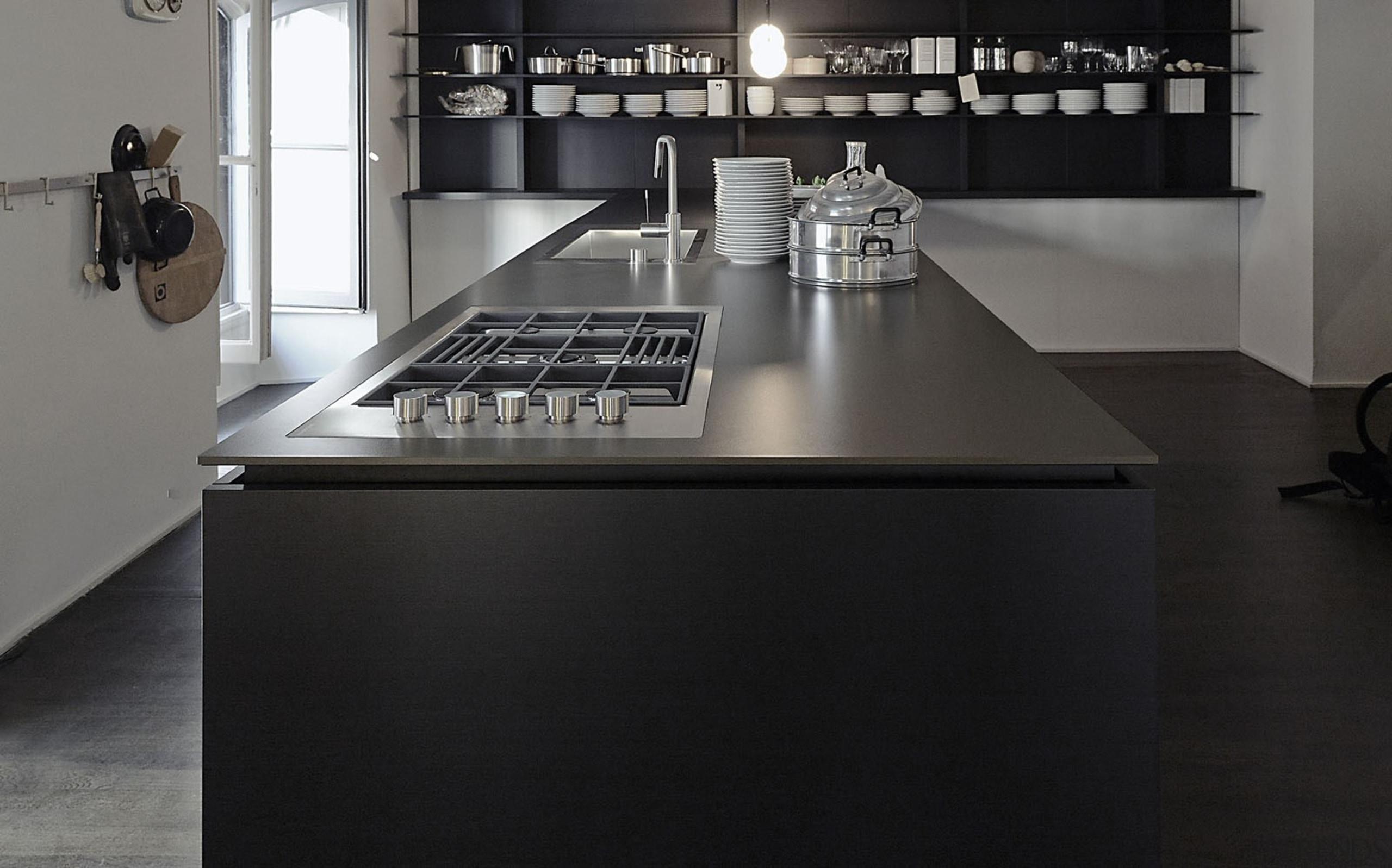 DOMOOS Encimera 3 - DOMOOS Encimera 3 - countertop, floor, flooring, furniture, kitchen, product design, black, gray